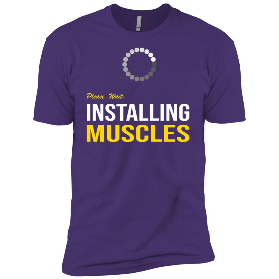 Please Wait Installing Muscles. Funny Workout Men Short Sleeve T-Shirt