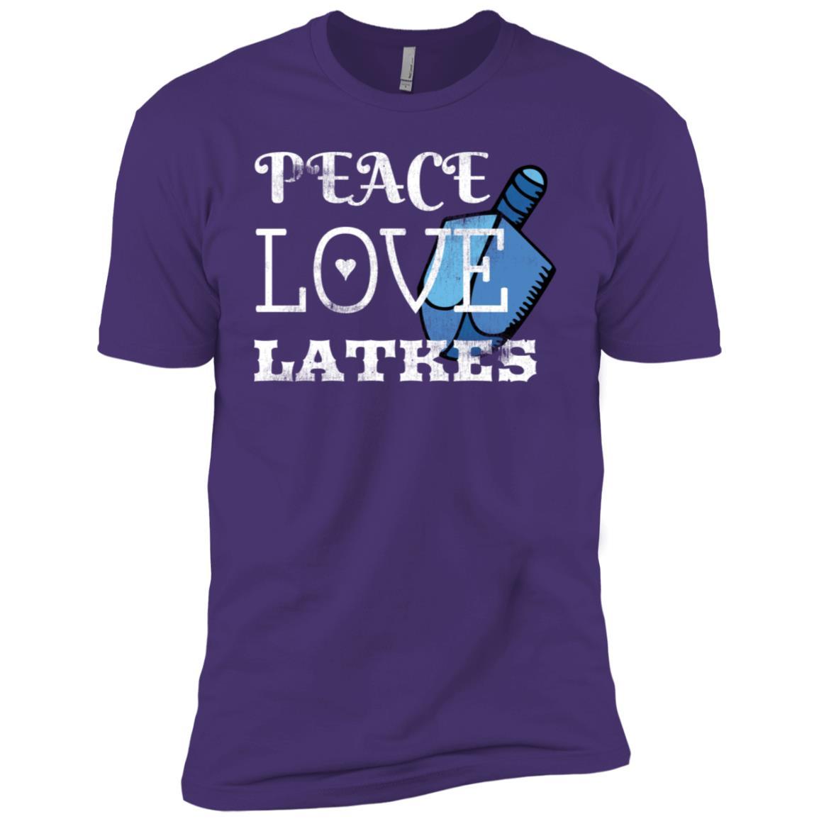 Peace Love Latkes with a Blue Dreidle Unisex Holiday Men Short Sleeve T-Shirt