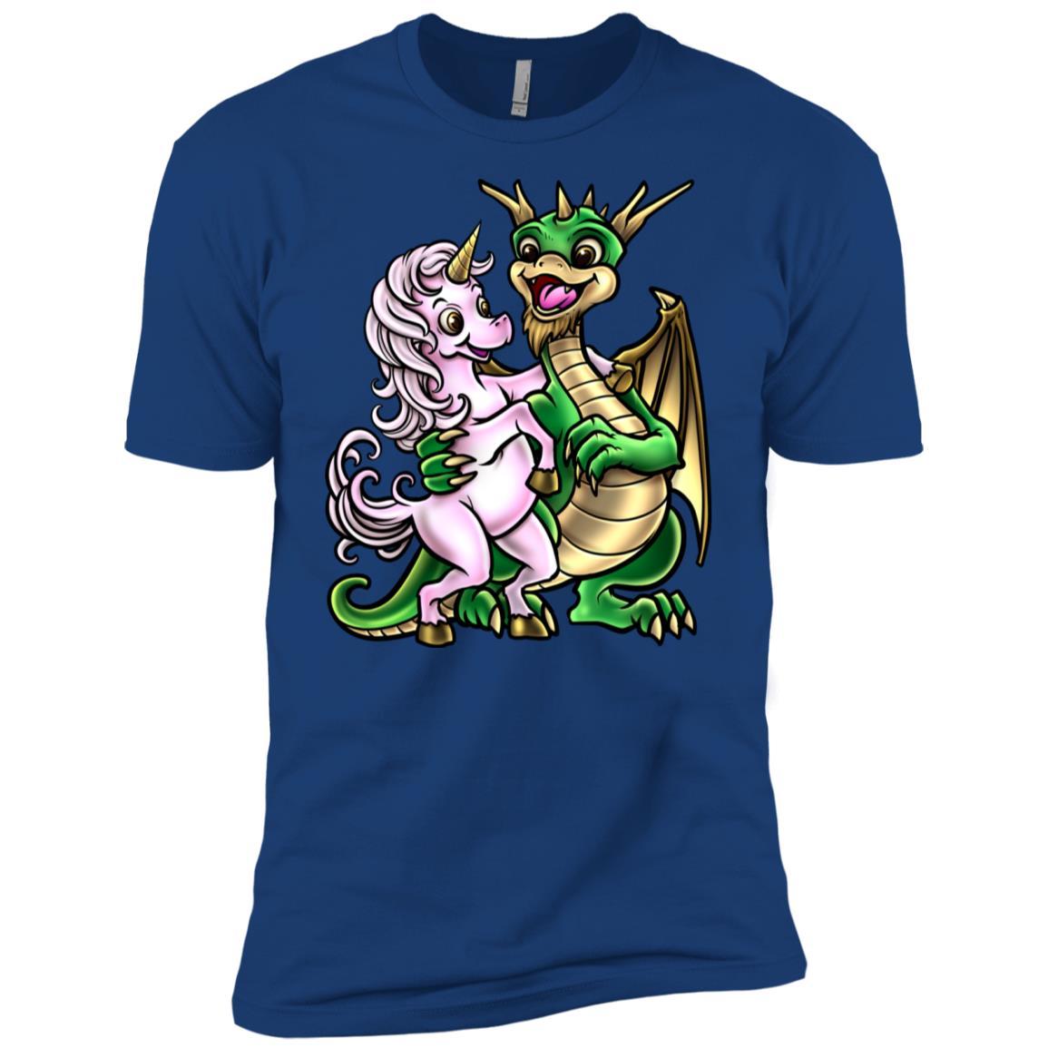 Dragon And Unicorn Warm Embrace Hug Men Short Sleeve T-Shirt
