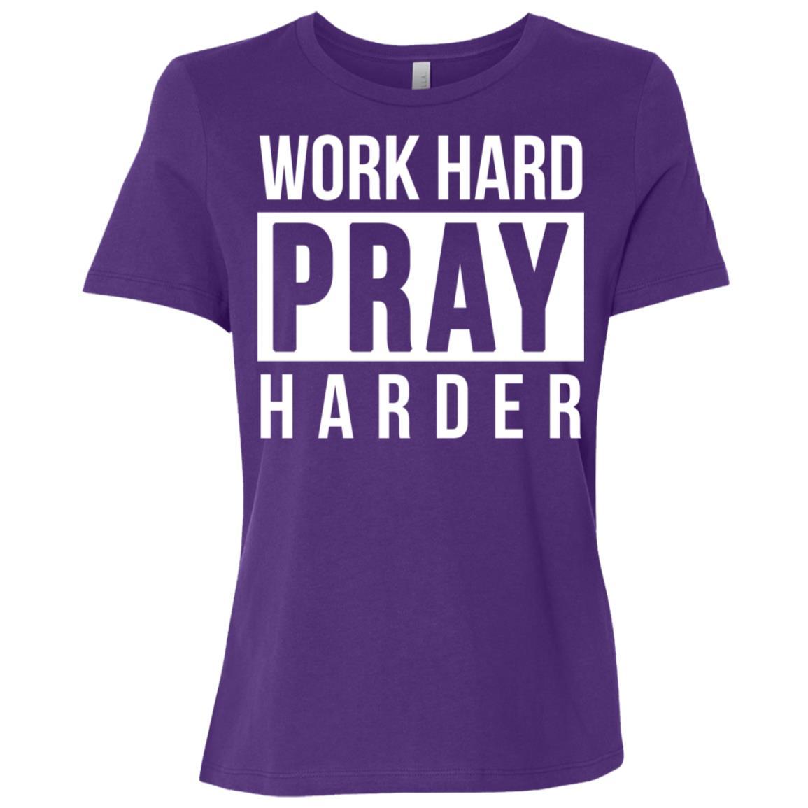 Work Hard Pray Harder Christian Praise God Women Short Sleeve T-Shirt