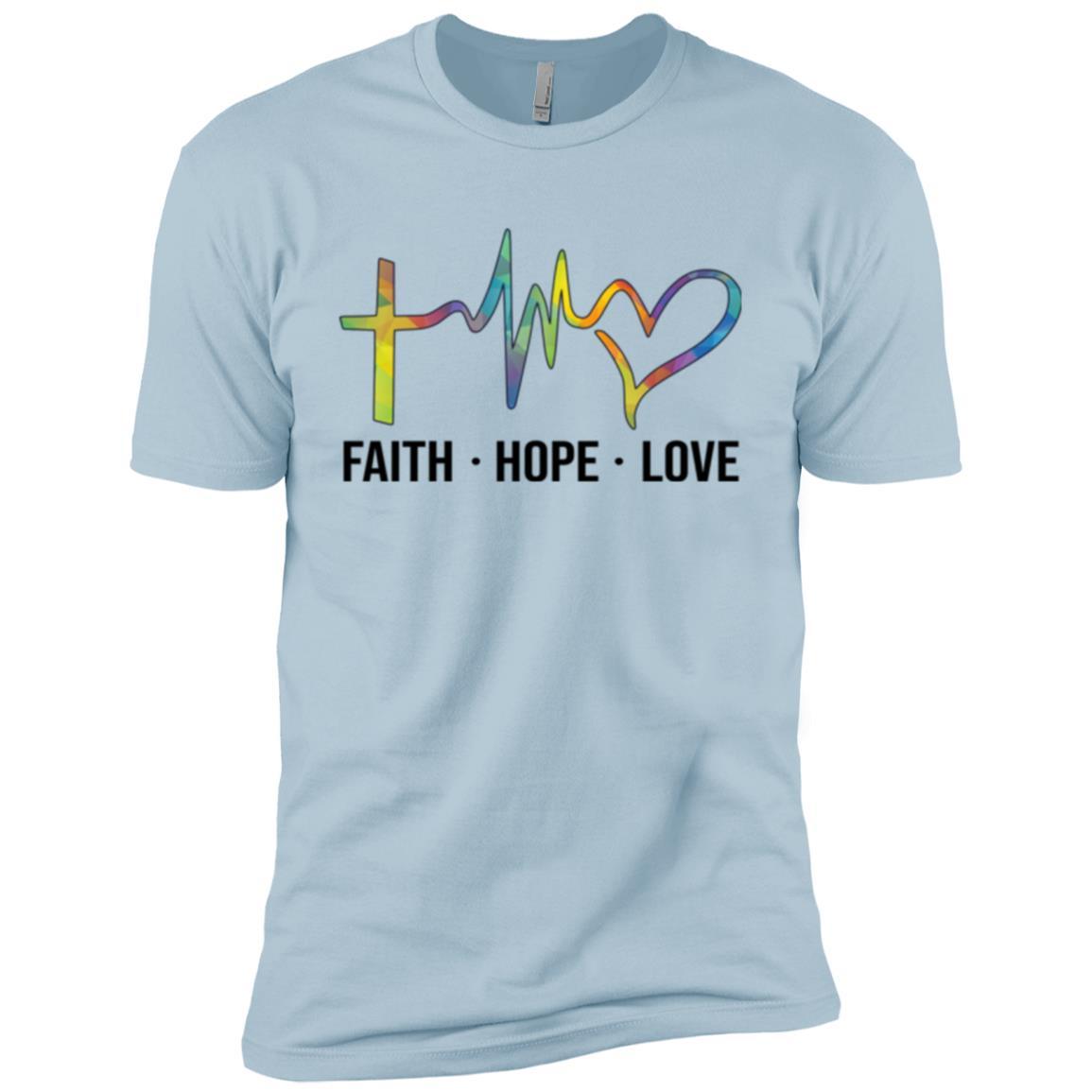 Faith Hope Love Christian Heartbeat Jesus Saying-5 Men Short Sleeve T-Shirt