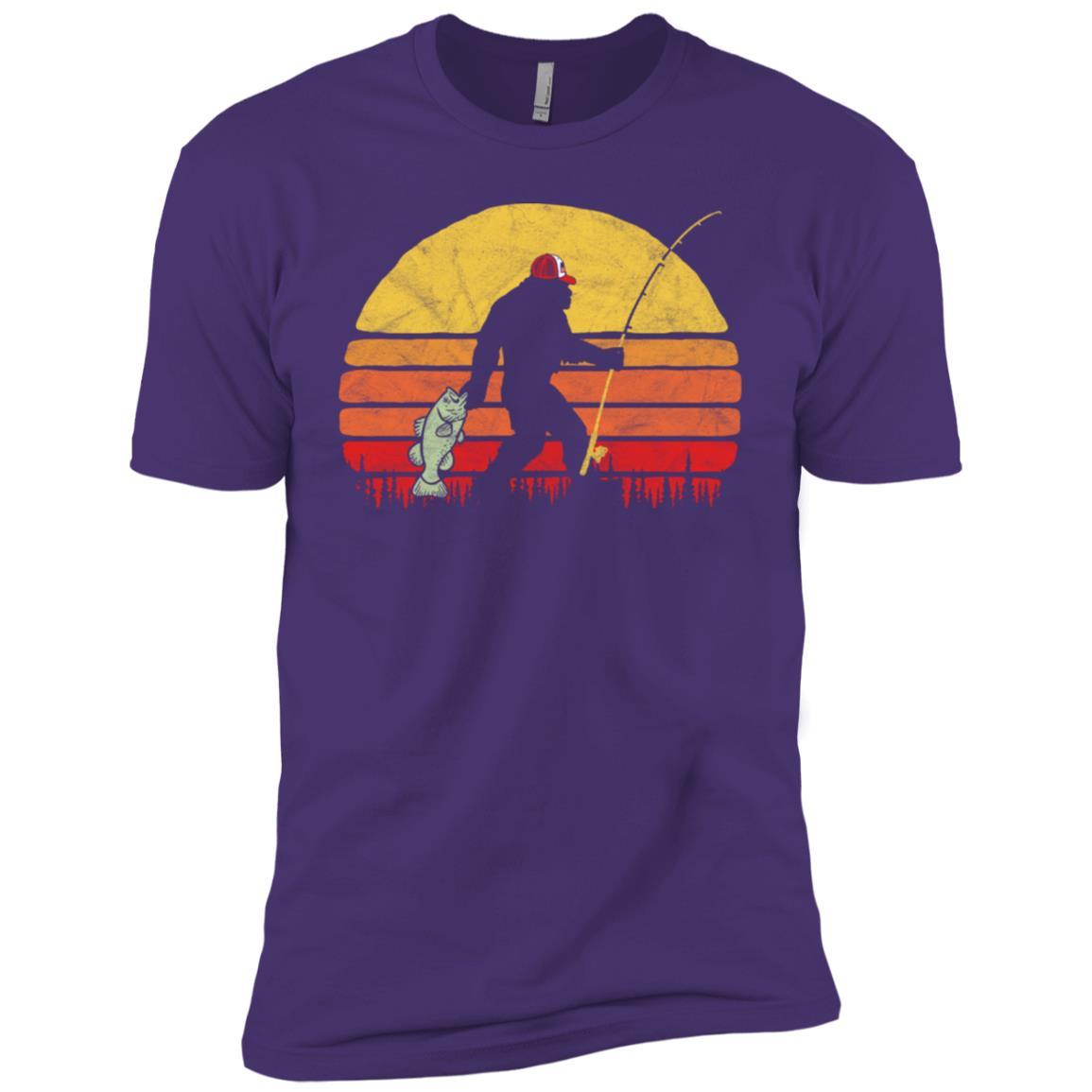 Bass Fishing Funny Bigfoot in Trucker Hat Retro Men Short Sleeve T-Shirt