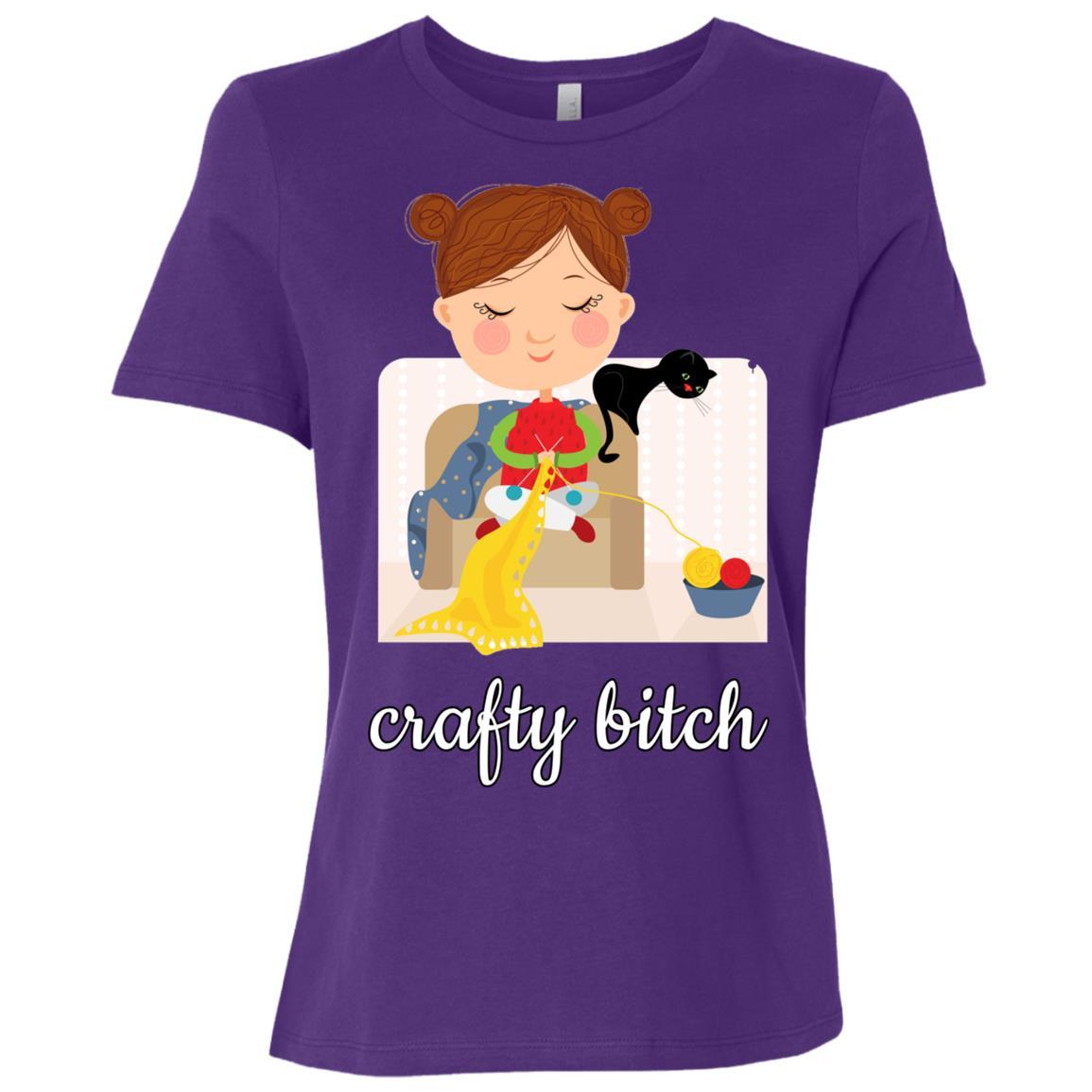 Crafty Bitch Knitting With Cat Women Short Sleeve T-Shirt