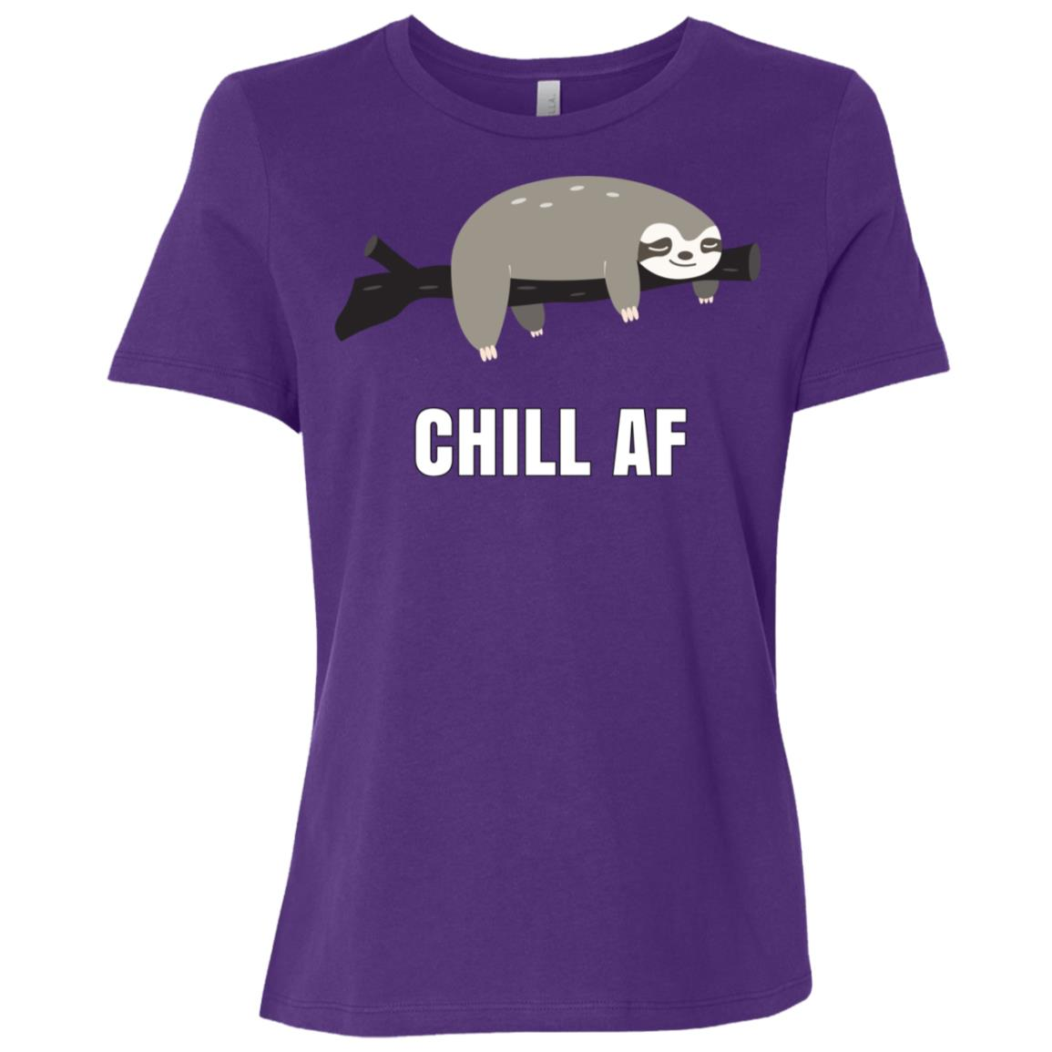 Chill Af Sloth Lounging On A Tree Branch Women Short Sleeve T-Shirt
