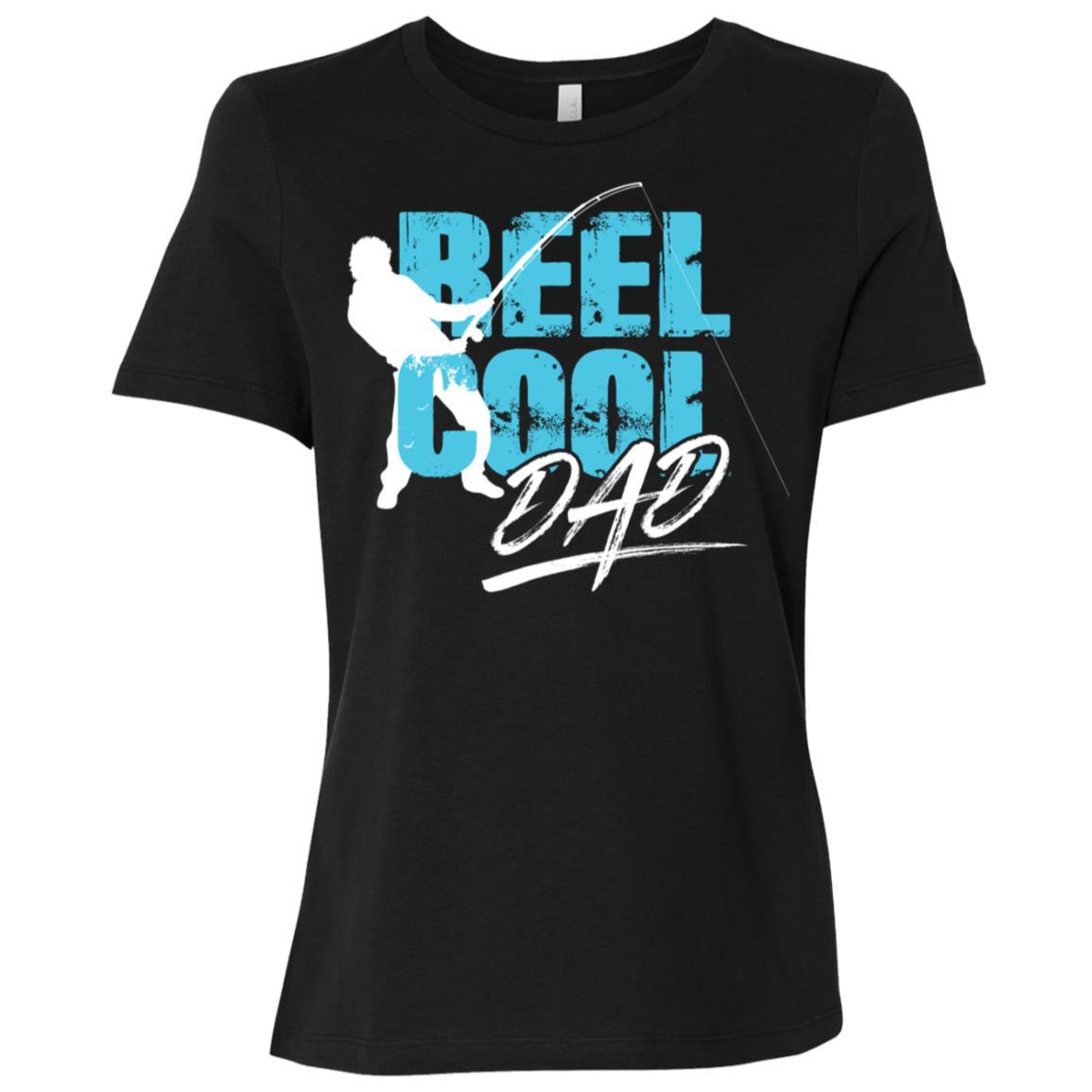 Beautiful Reel Cool Dad Fisherman Silhouette Tee Women Short Sleeve T-Shirt