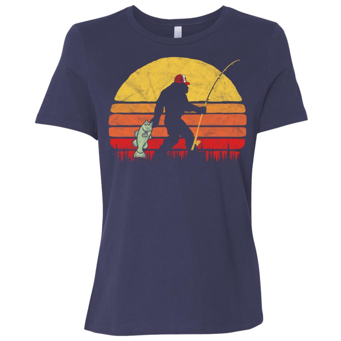 Bass Fishing Funny Bigfoot in Trucker Hat Retro Women Short Sleeve T-Shirt