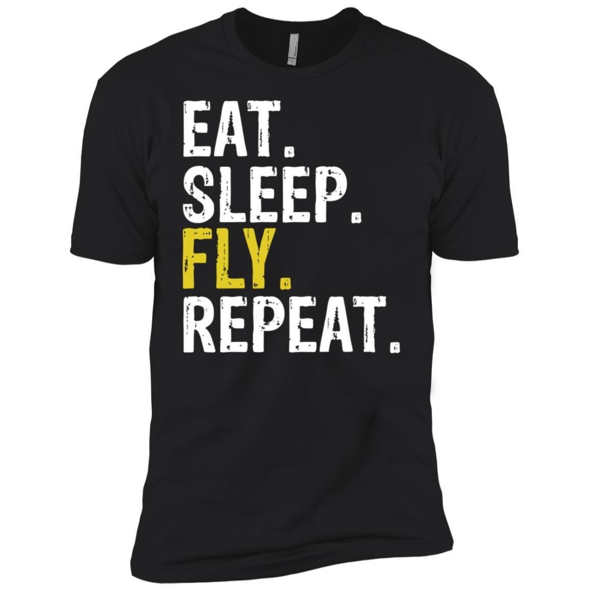 Eat Sleep Fly Repeat Aviation Pilot Gift Men Short Sleeve T-Shirt