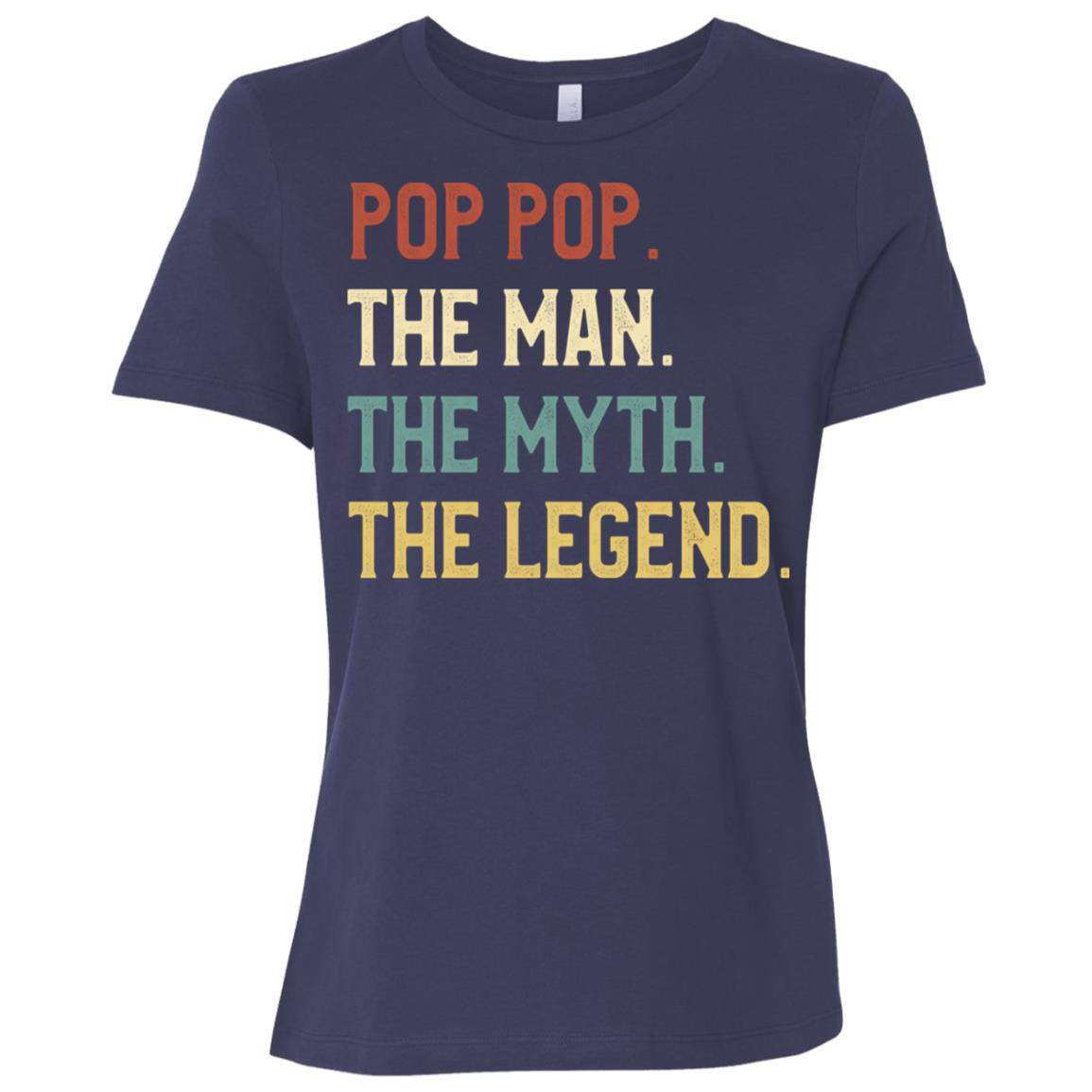 Fathers Day The Man Myth Legend Pop Pop Papa Gift Women Short Sleeve T-Shirt