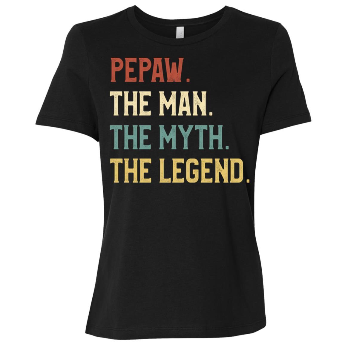 Fathers Day The Man Myth Legend Pepaw Papa Gift Women Short Sleeve T-Shirt