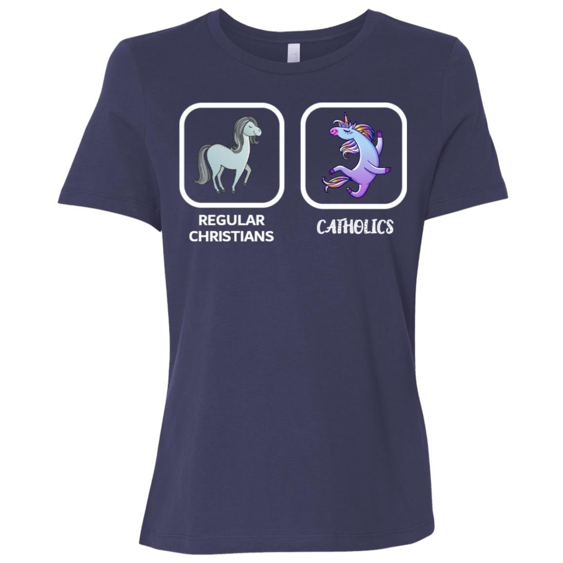 Regular Christians Catholics Funny Christian Catholic Ls Tee Women Short Sleeve T-Shirt