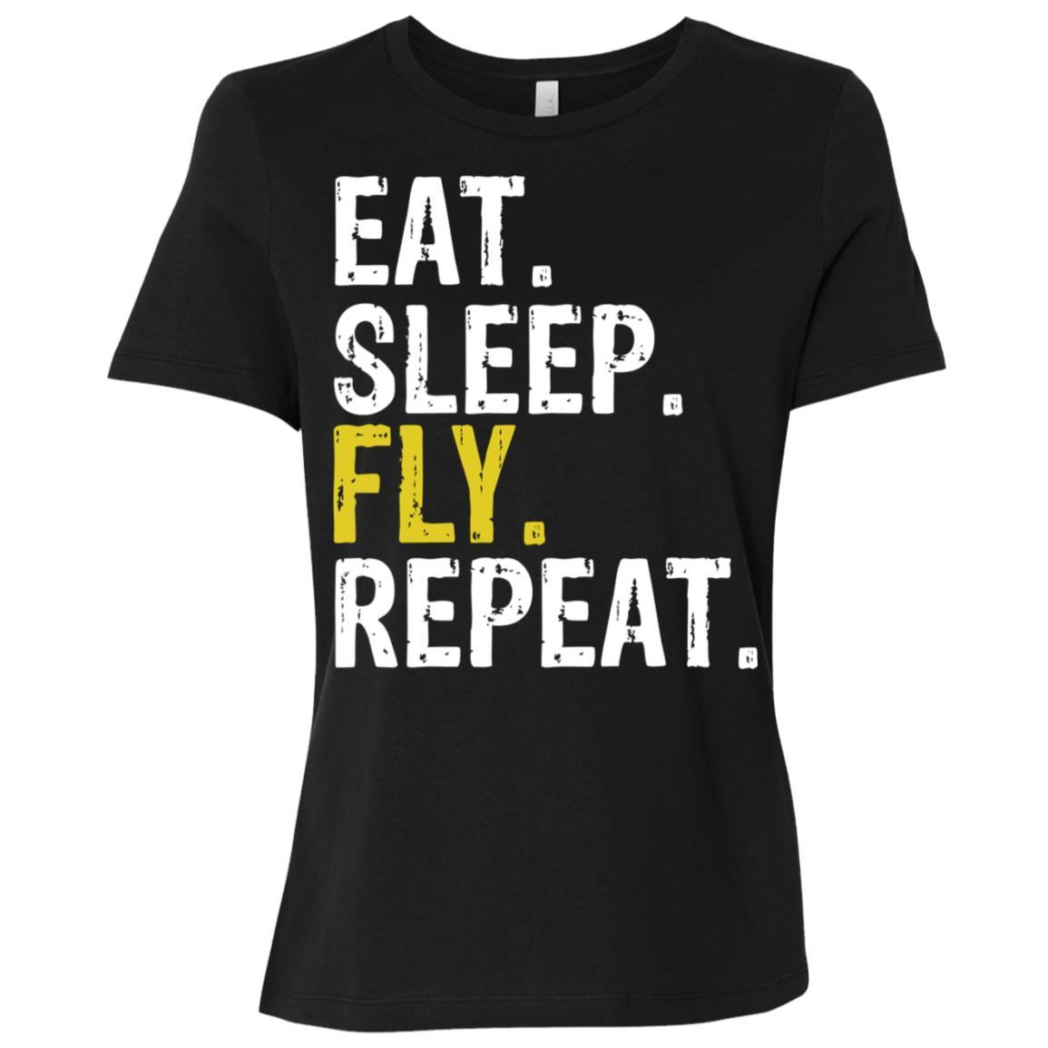 Eat Sleep Fly Repeat Aviation Pilot Gift Women Short Sleeve T-Shirt