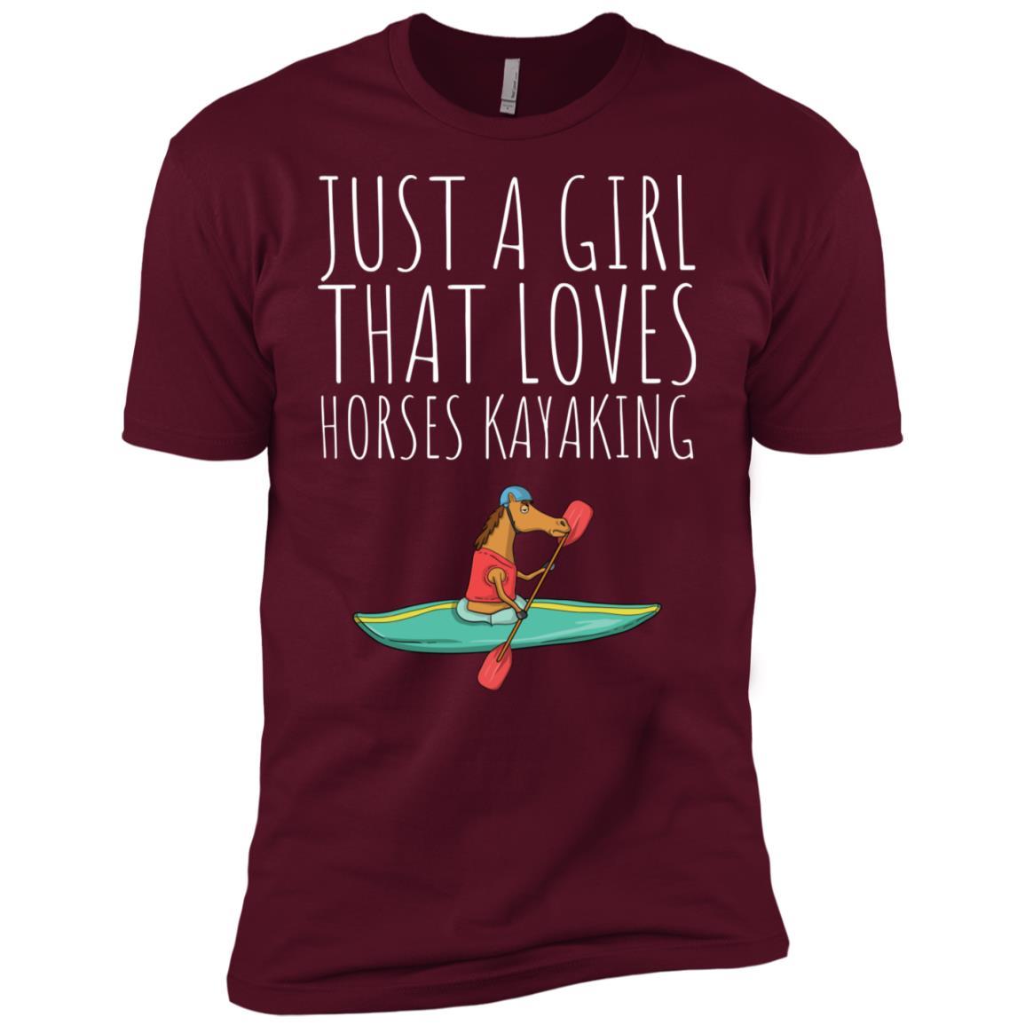 Funny Cute Girl Loves Horses Kayaking Gifts Women Men Short Sleeve T-Shirt