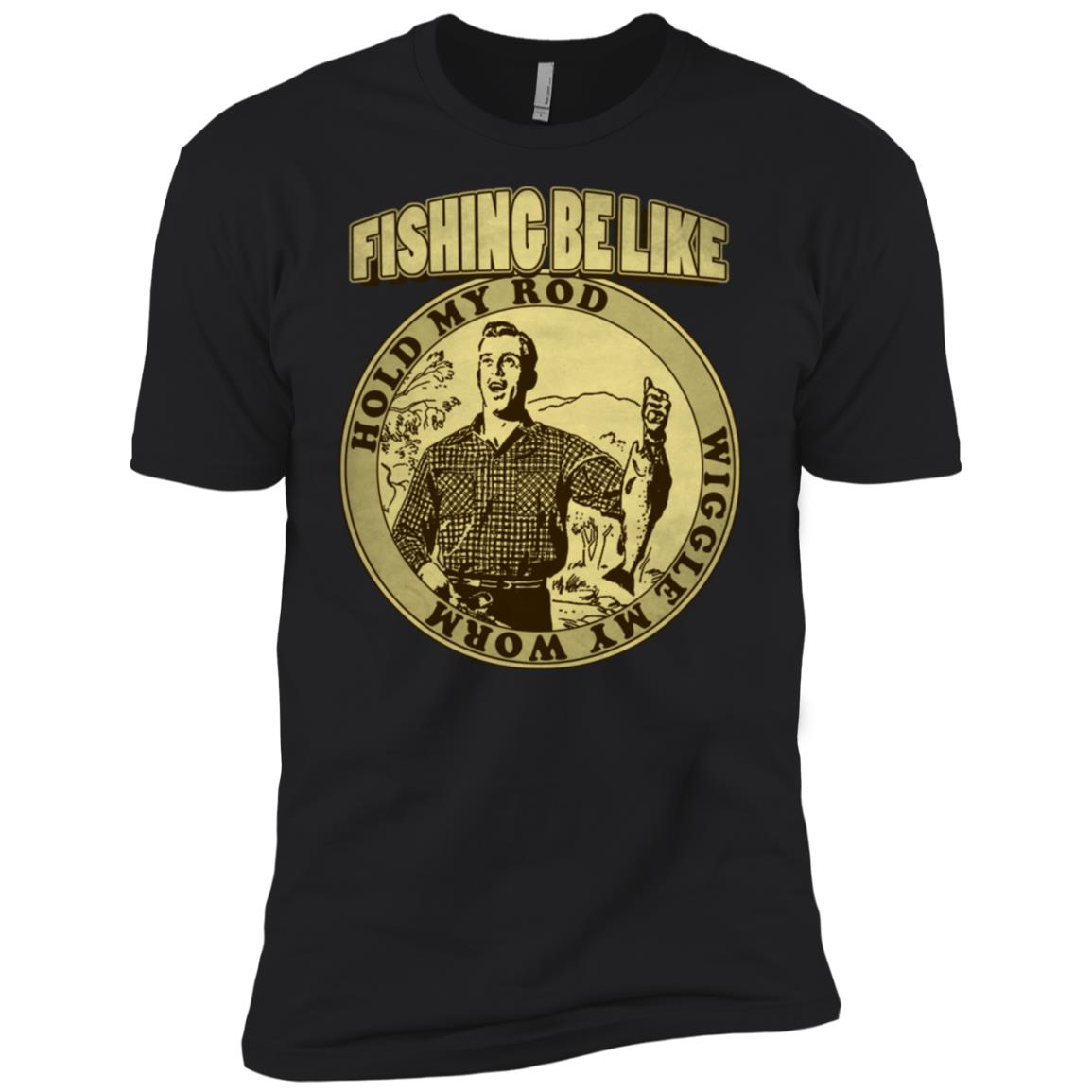 Fishing Be Like Hold My Rod Wiggle My Worm (Sepia) Men Short Sleeve T-Shirt
