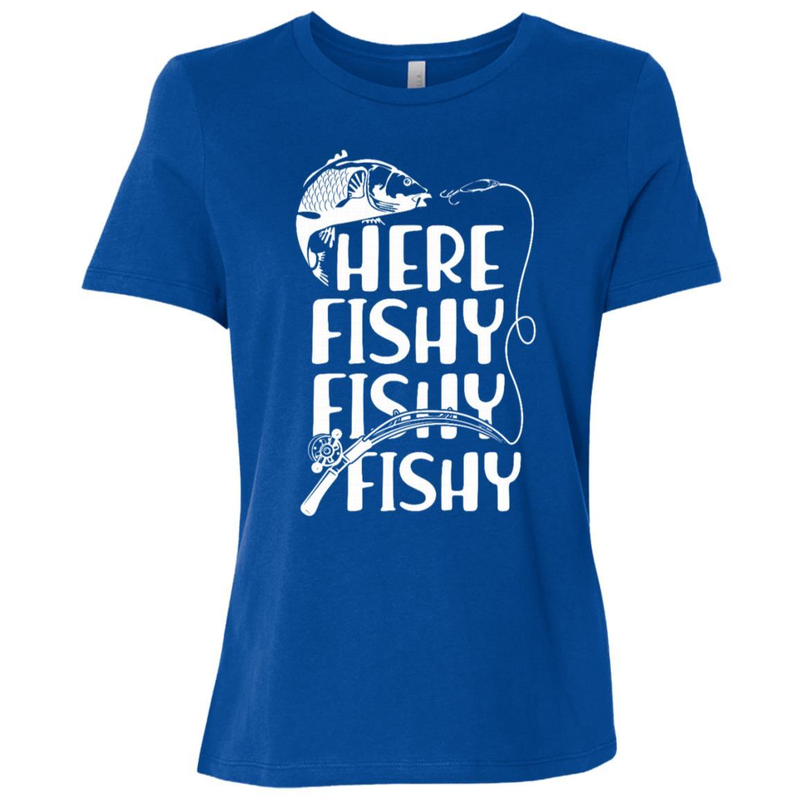 Funny Fishing Here Fishy Fishy Fisherman-1 Women Short Sleeve T-Shirt