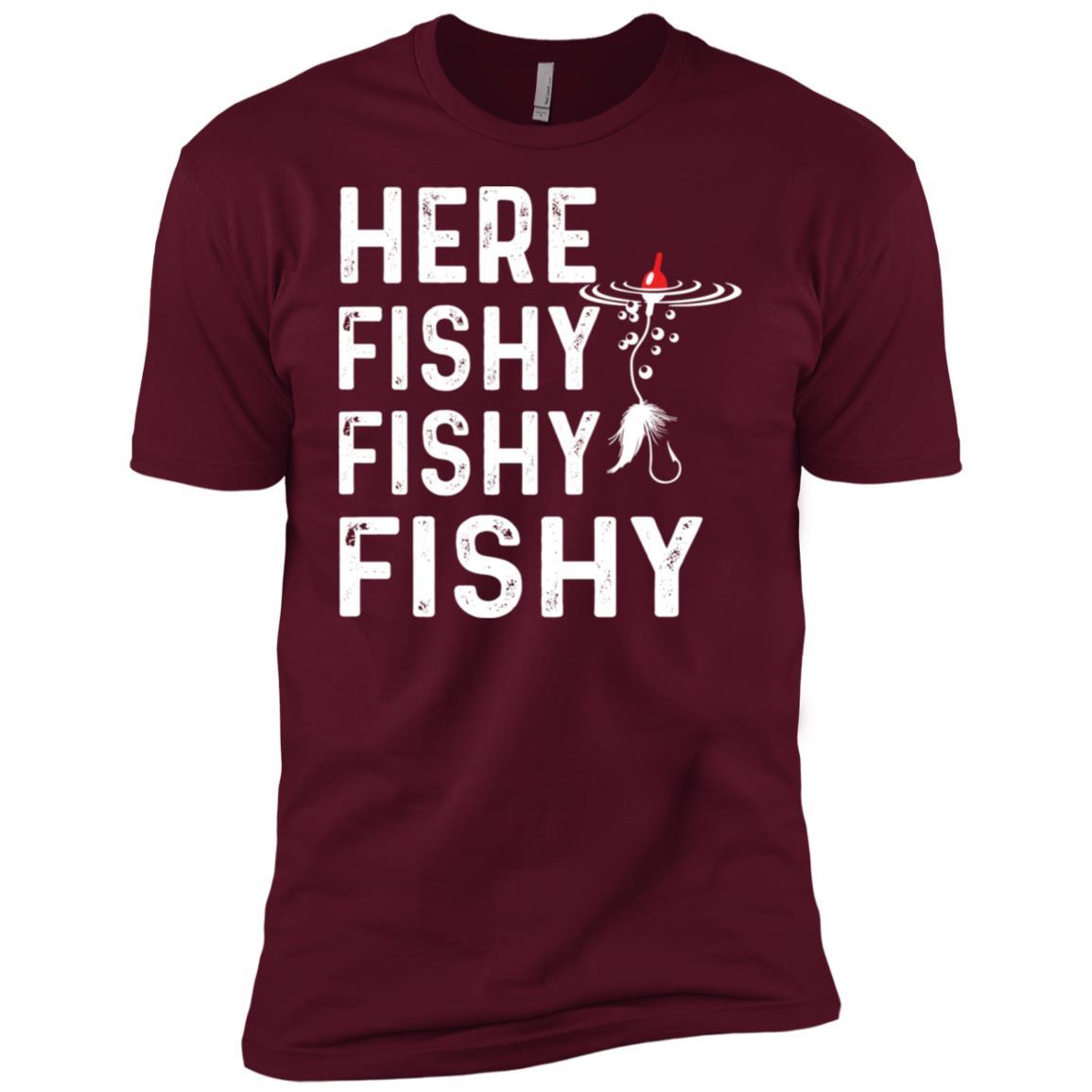 Here Fishy Fishy Fishy Funny Fisherman Tee Men Short Sleeve T-Shirt