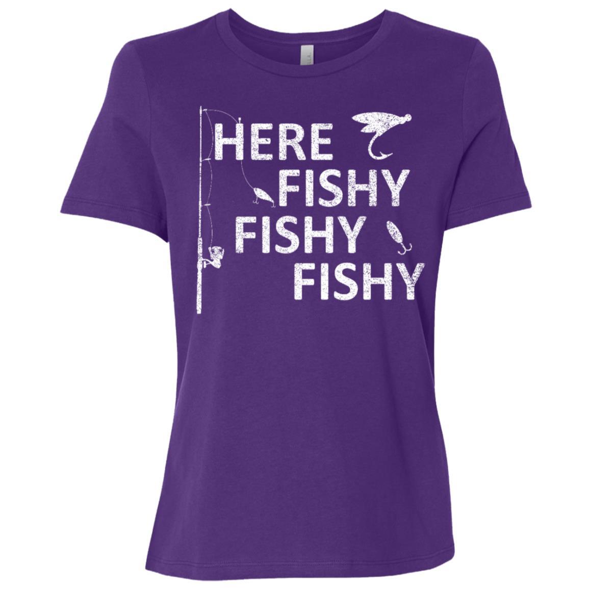 Here Fishy Fishy Fishy Funny Fisherman Women Short Sleeve T-Shirt