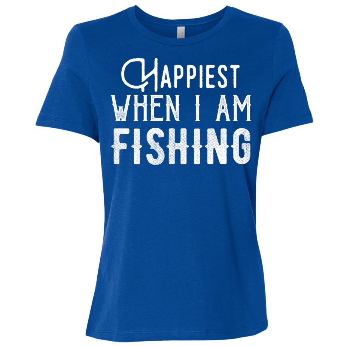 Happiest When I Am Fishing Gift Ideas Women Short Sleeve T-Shirt