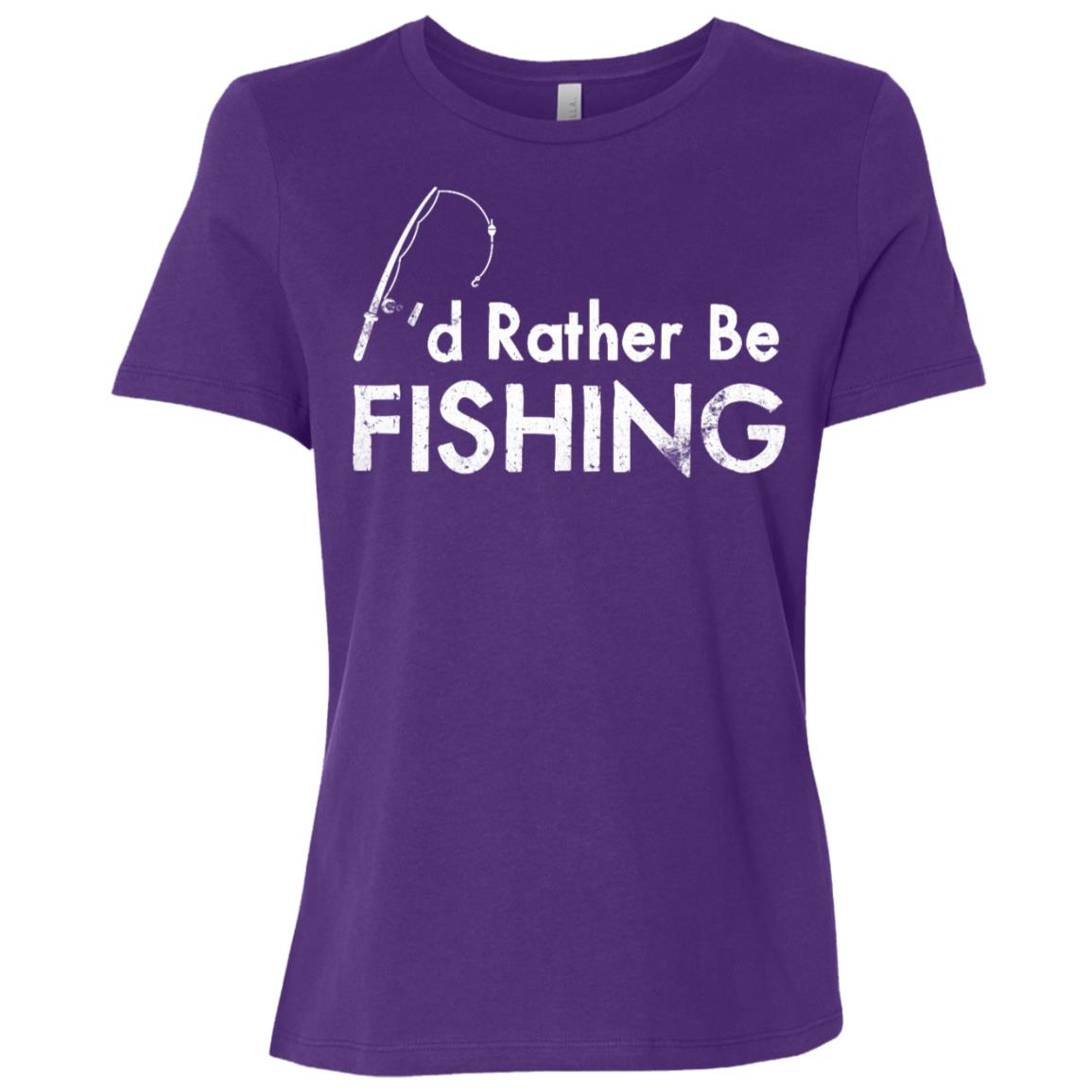 I'd Rather Be Fishing Camping Funny Camping -3 Women Short Sleeve T-Shirt