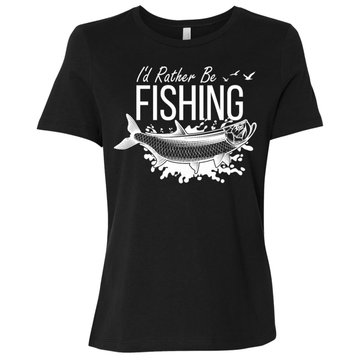 I'd Rather Be Fishing Camping Funny Camping -4 Women Short Sleeve T-Shirt
