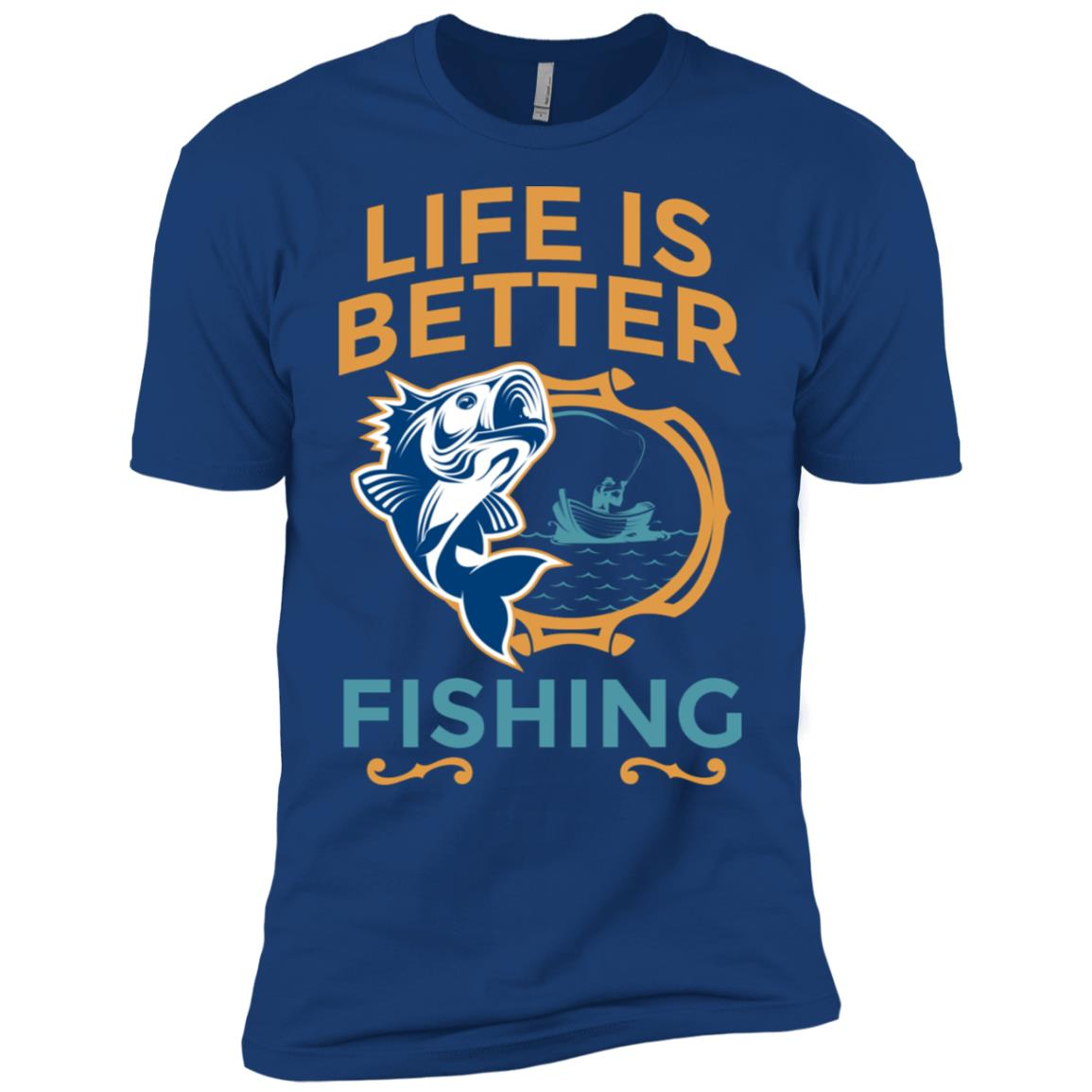 Life Is Better Fishing Large Mouth Bass Men Short Sleeve T-Shirt