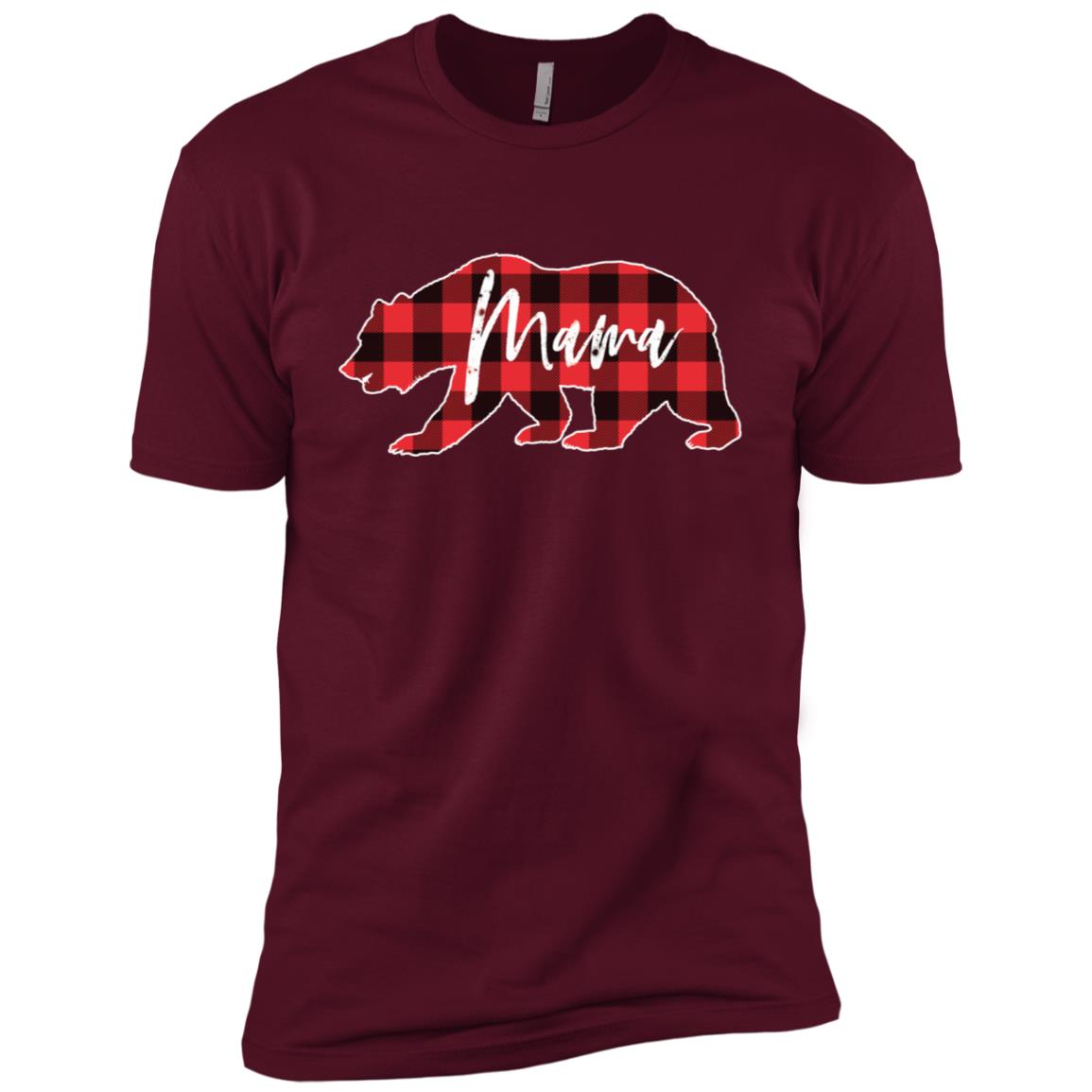 Mama Bear Red Black Buffalo Check Plaid Men Short Sleeve T-Shirt
