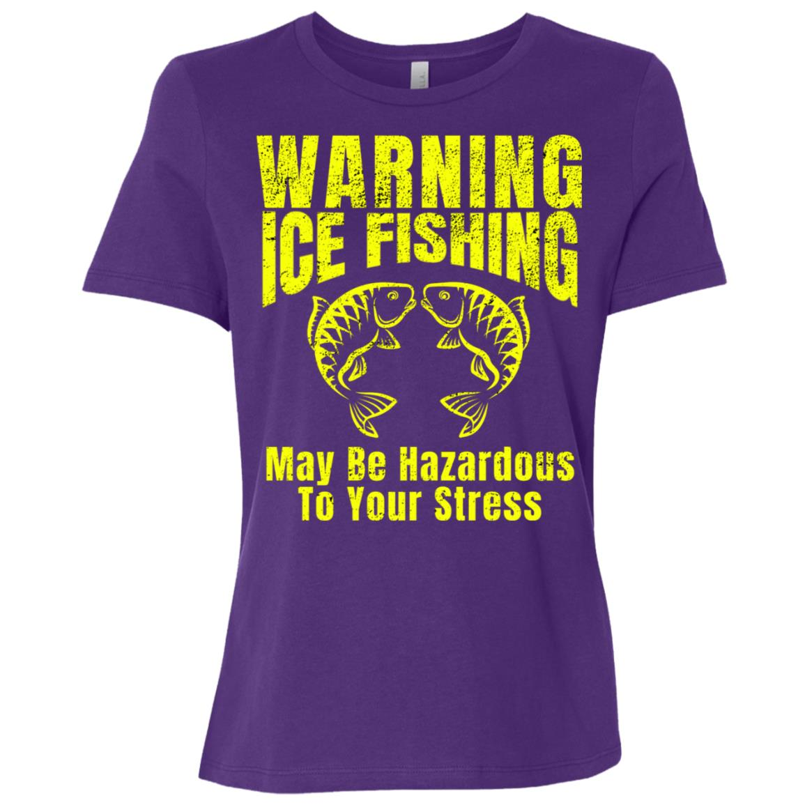 Mens Ice Fishing May Be Hazardous To Your Stress Women Short Sleeve T-Shirt