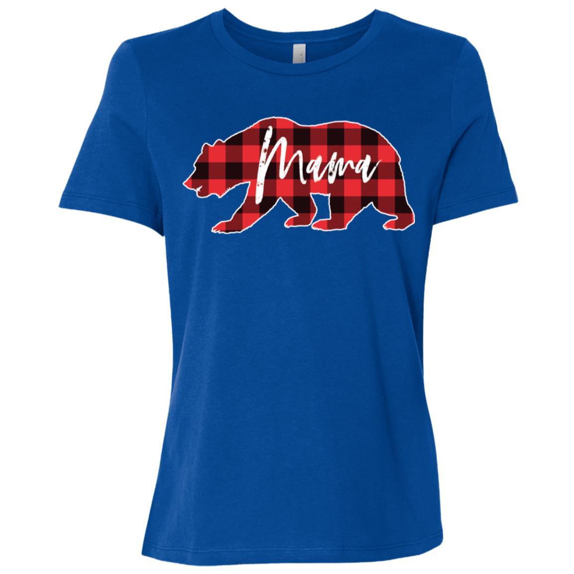 Mama Bear Red Black Buffalo Check Plaid Women Short Sleeve T-Shirt