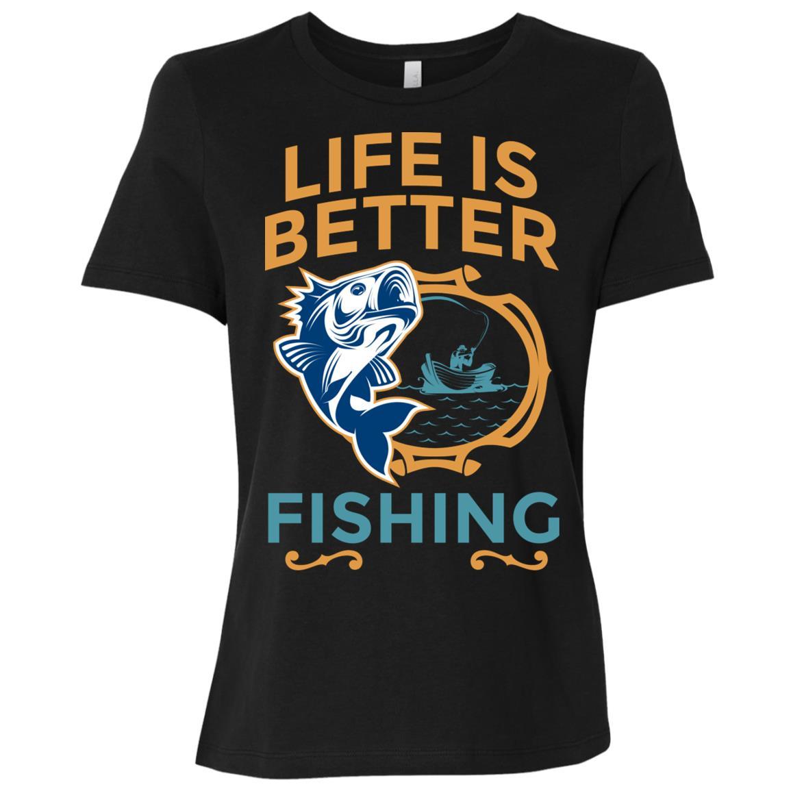 Life Is Better Fishing Large Mouth Bass Women Short Sleeve T-Shirt