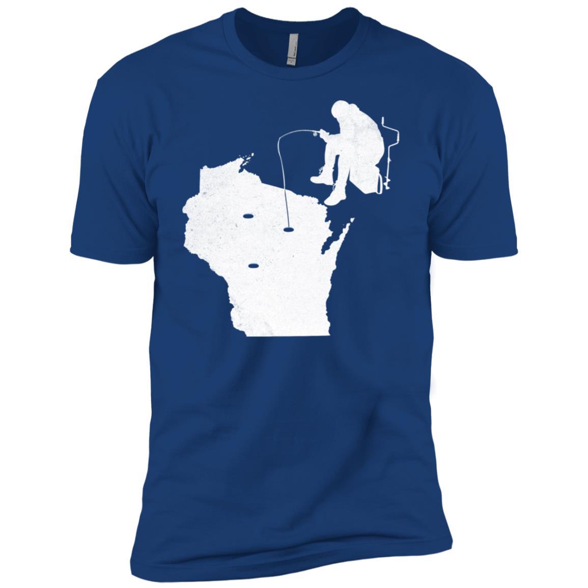 Wisconsin Ice Fishing State Map Men Short Sleeve T-Shirt