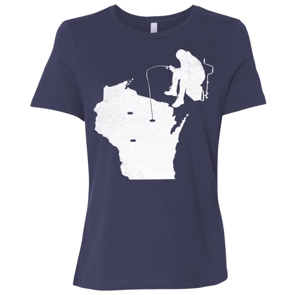 Wisconsin Ice Fishing State Map Women Short Sleeve T-Shirt