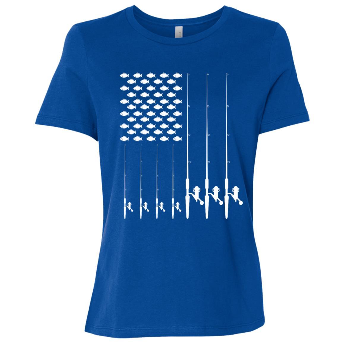 Usa flag Fishing Ls Fish Bend Your Rod Women Short Sleeve T-Shirt