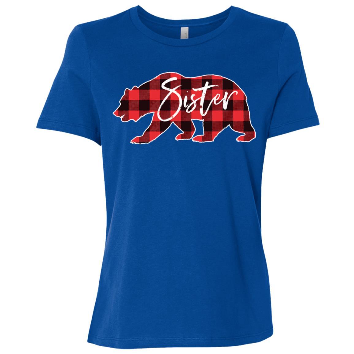Sister Bear Red Black Buffalo Check Plaid Women Short Sleeve T-Shirt