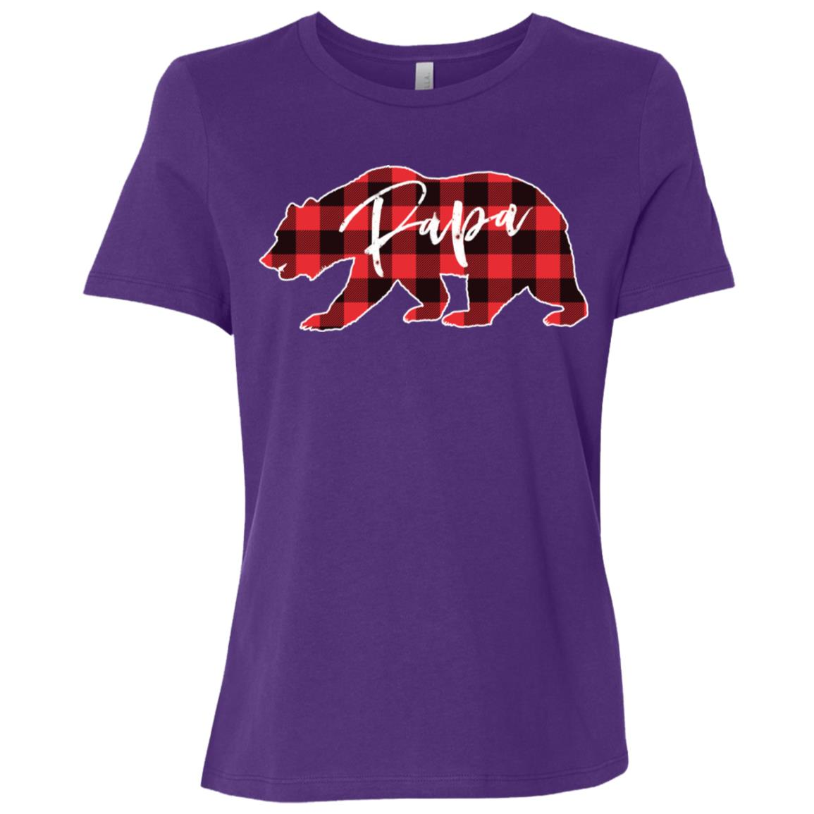 Papa Bear Red Black Buffalo Check Plaid Women Short Sleeve T-Shirt