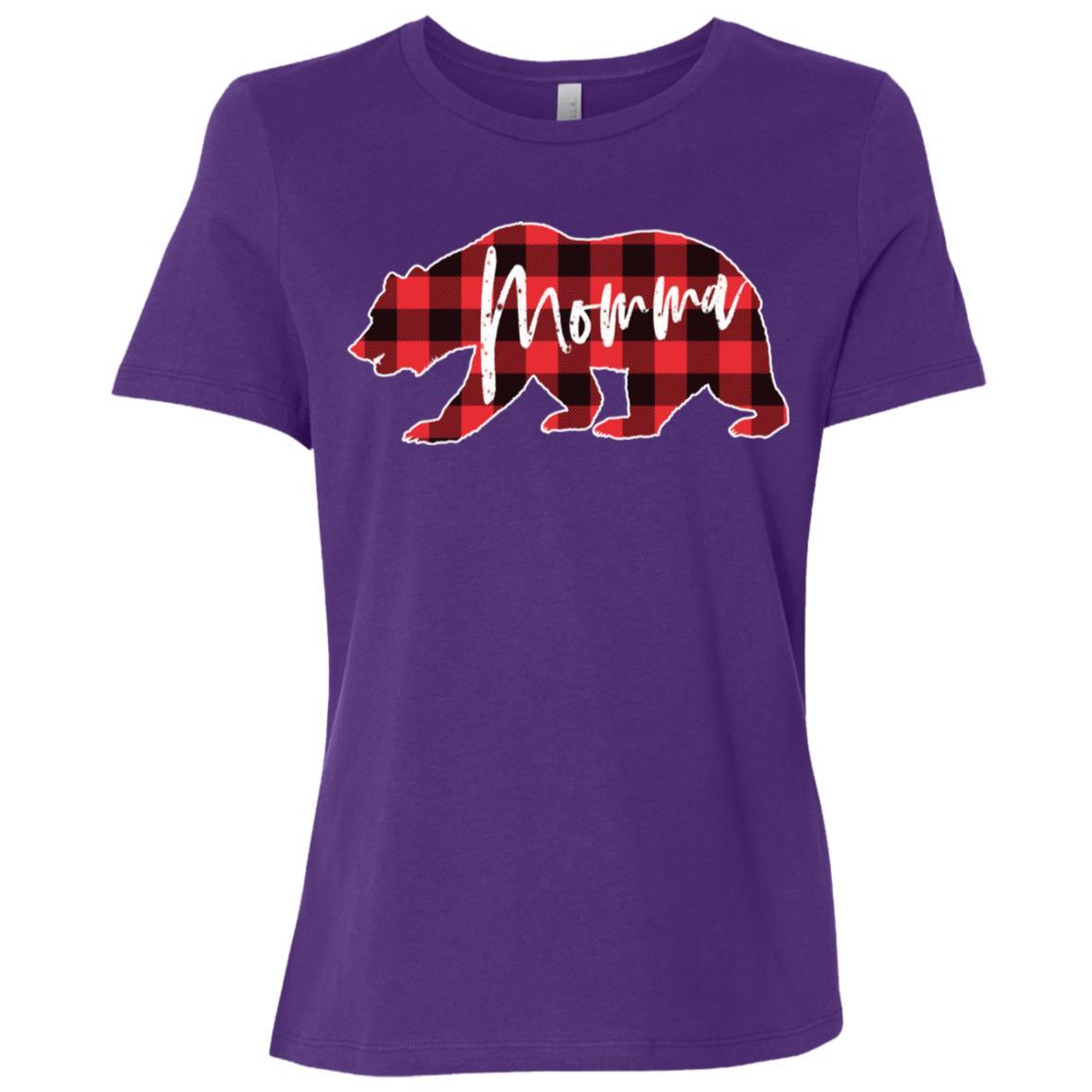 Momma Bear Red Black Buffalo Check Plaid Women Short Sleeve T-Shirt