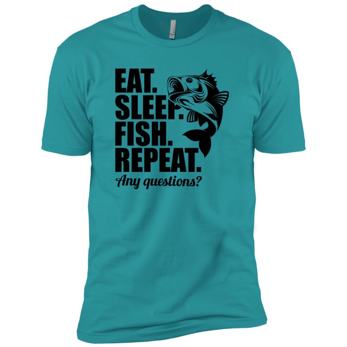 Eat Sleep Fish Repeat Funny Cool Fisherman Fish Men Short Sleeve T-Shirt