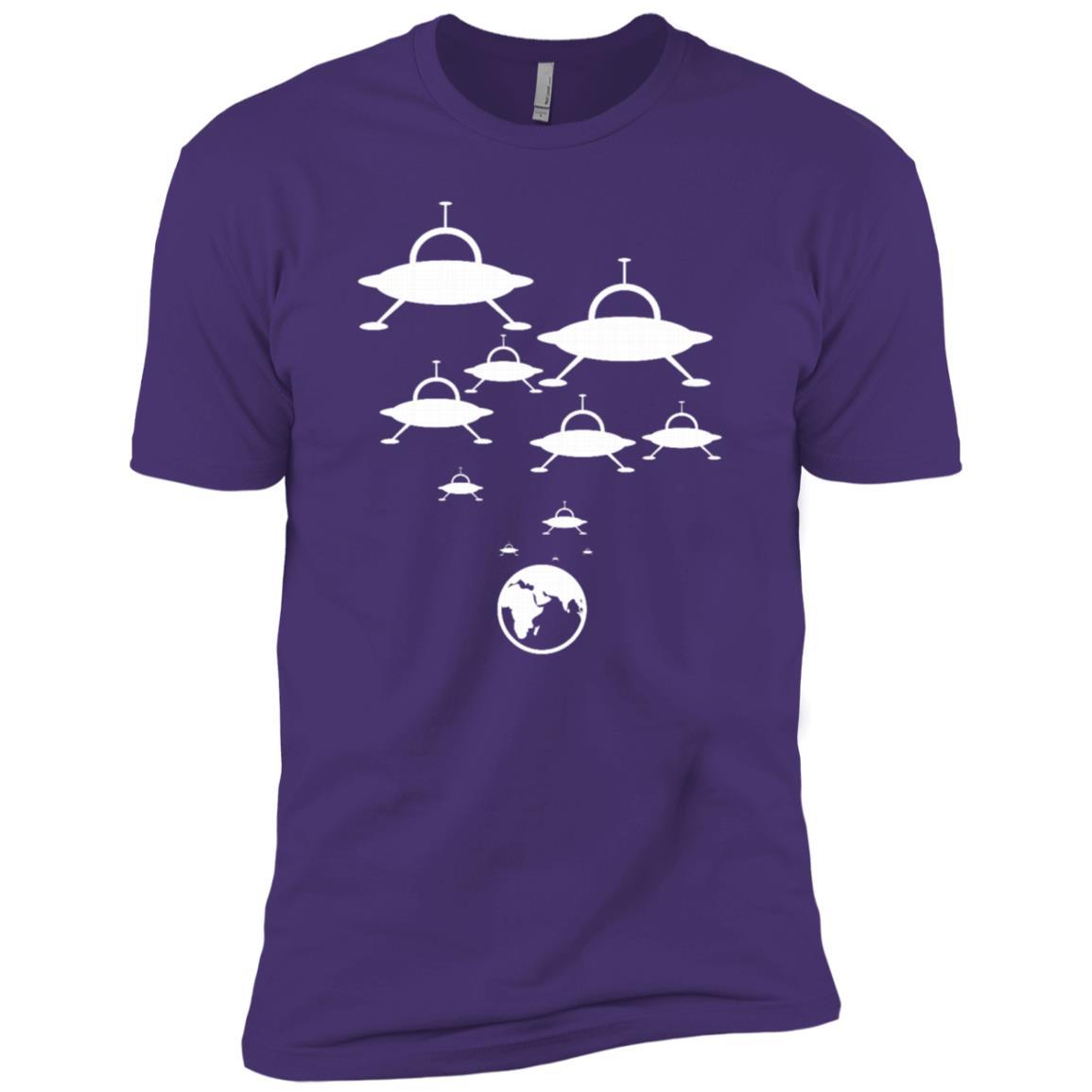 Alien Spaceships Landing On The Earth Ufo Funny Men Short Sleeve T-Shirt