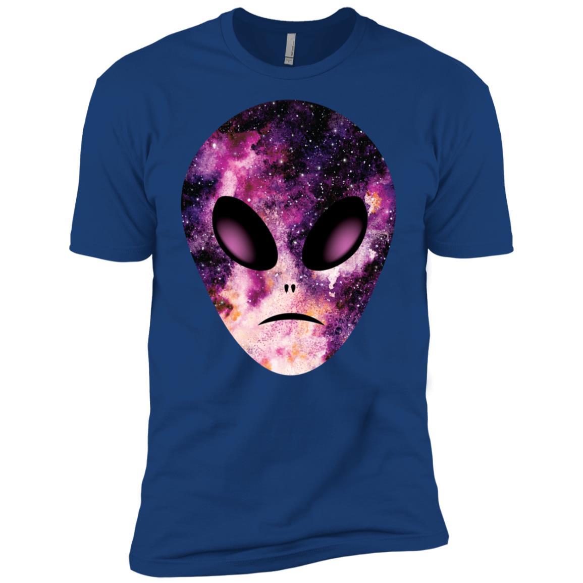 Alien Head in Purple Galaxy, space gift for believers Men Short Sleeve T-Shirt