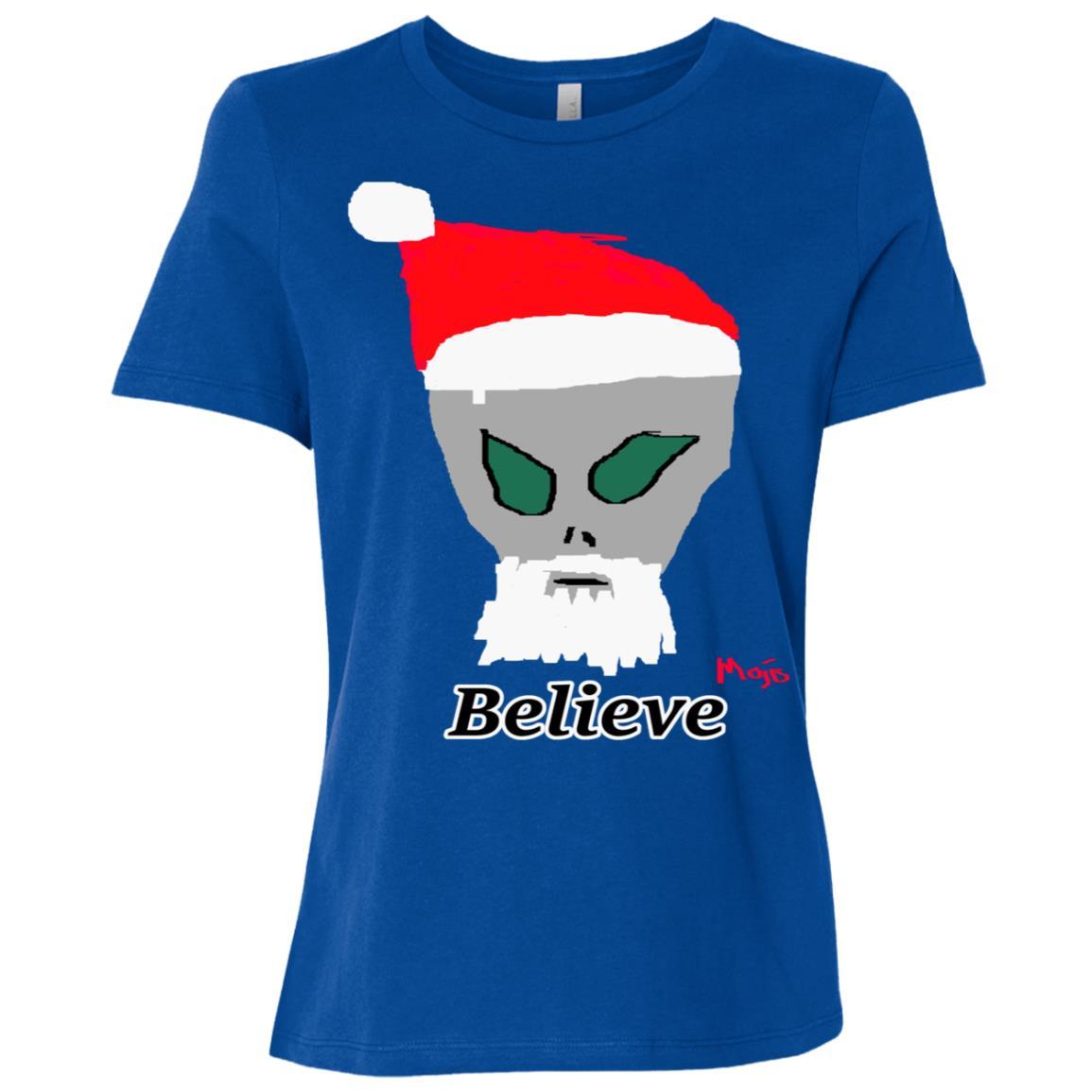 Alien Santa Claus Believe Funny Christmas Holiday Women Short Sleeve T-Shirt