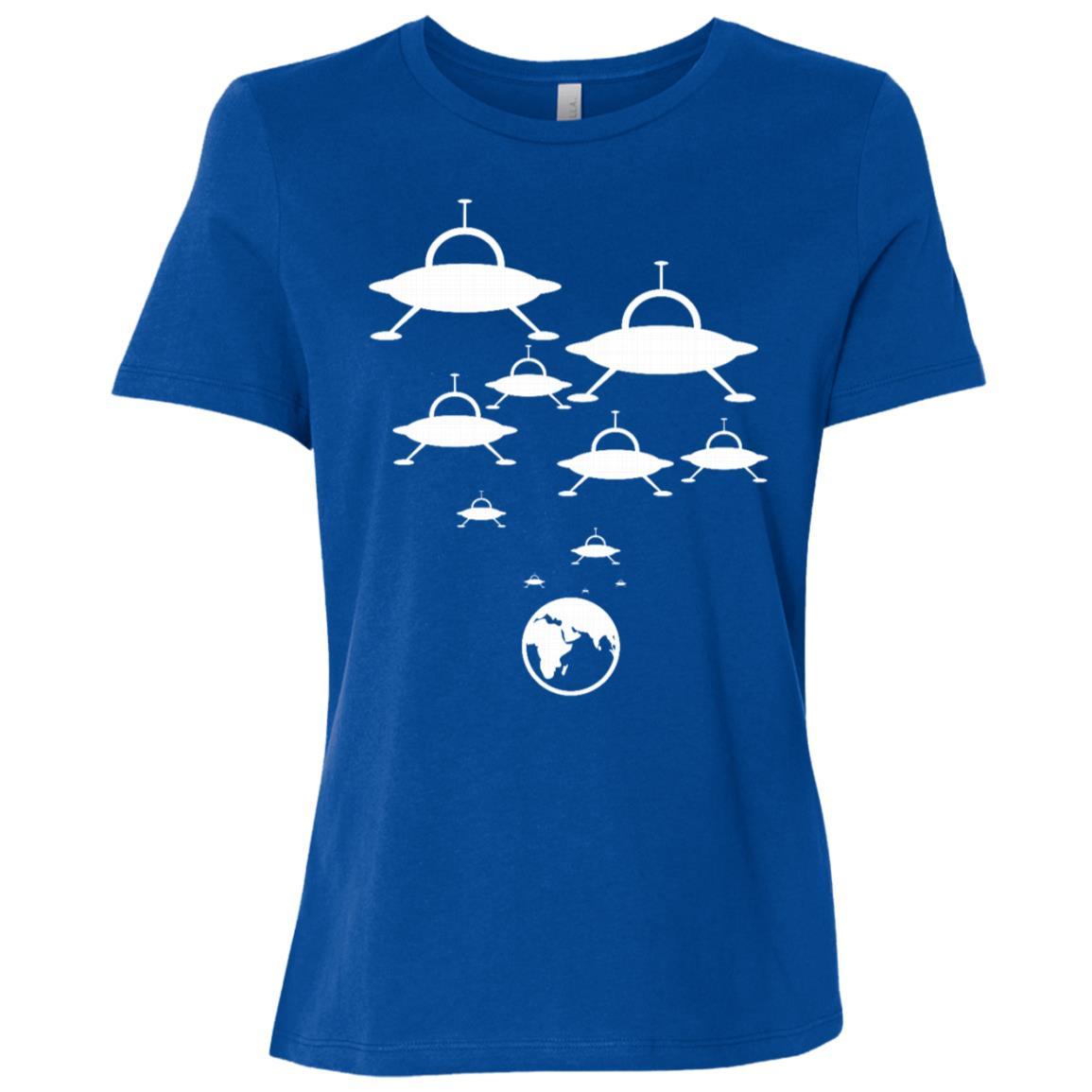 Alien Spaceships Landing On The Earth Ufo Funny Women Short Sleeve T-Shirt