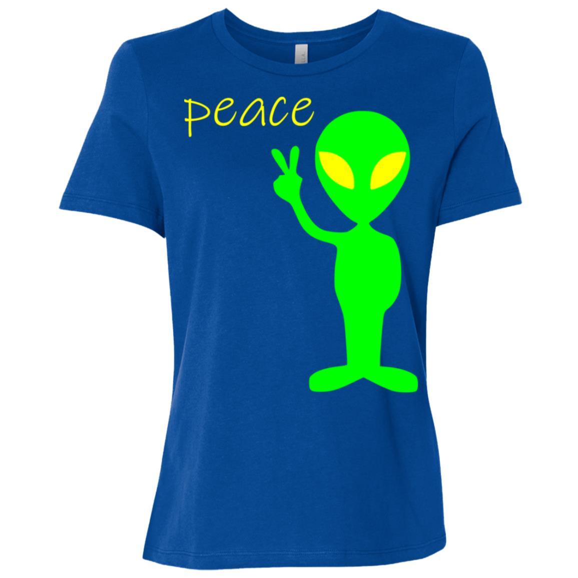 Alien Peace Funny Ufo Women Short Sleeve T-Shirt
