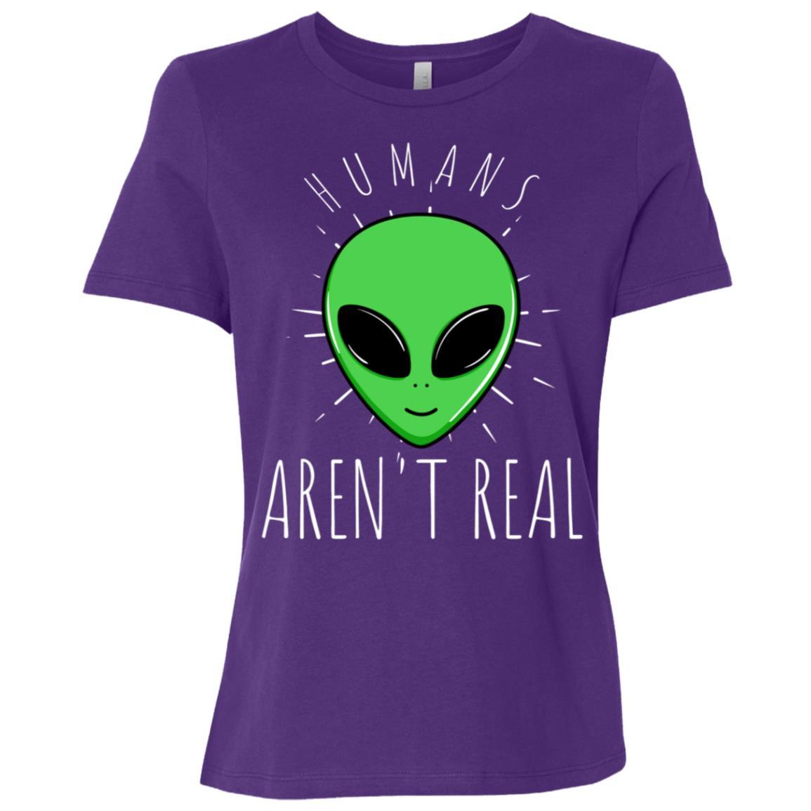 Alien Humans Aren't Real Ufo Space World Women Short Sleeve T-Shirt