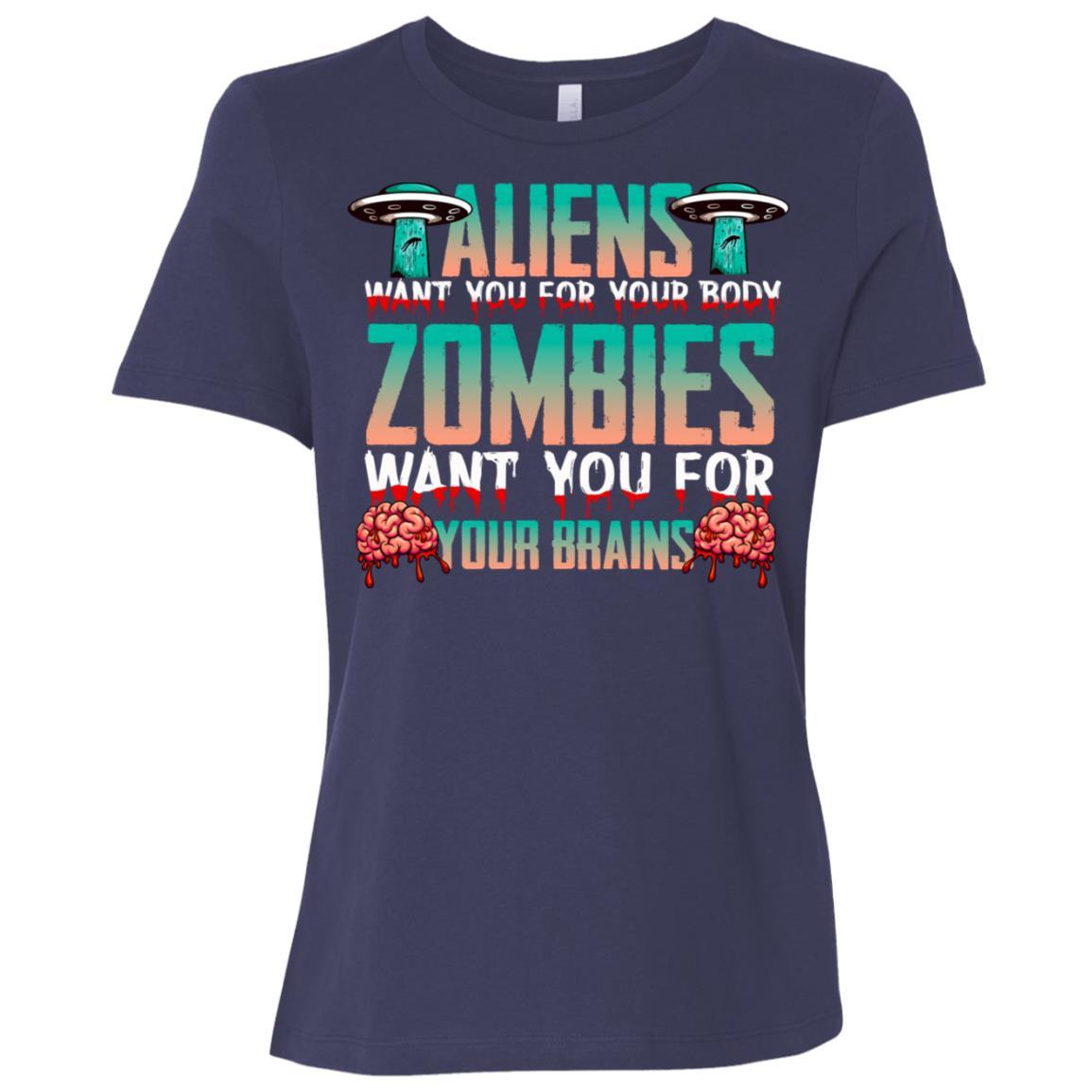 Aliens Zombies Science Fiction Women Short Sleeve T-Shirt