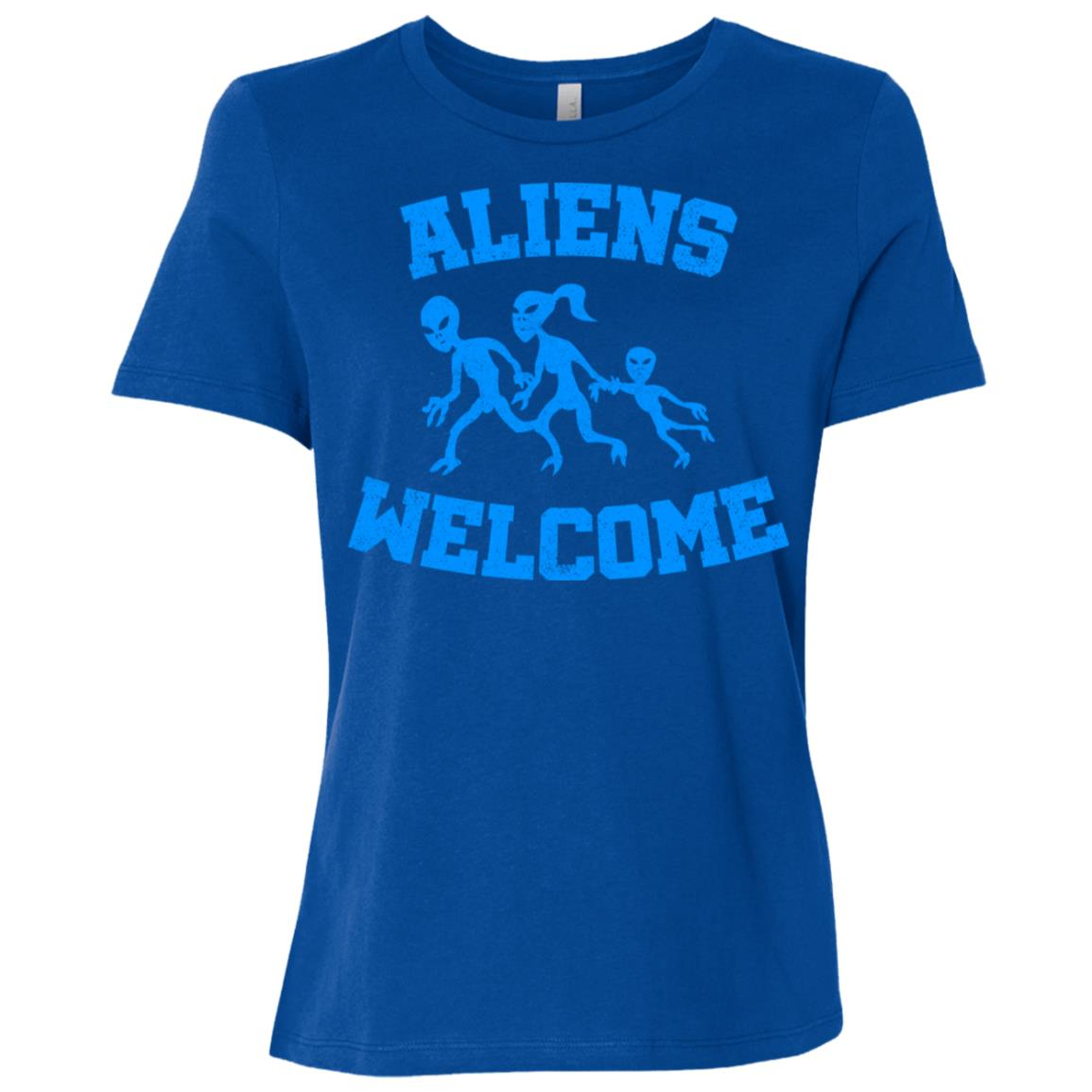 Aliens welcome funny alien and extraterrestrial ls -2 Women Short Sleeve T-Shirt