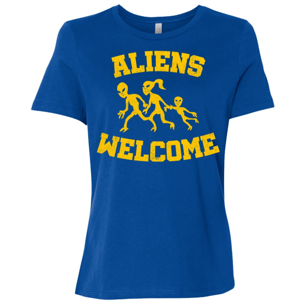 Aliens welcome funny alien and extraterrestrial ls Women Short Sleeve T-Shirt