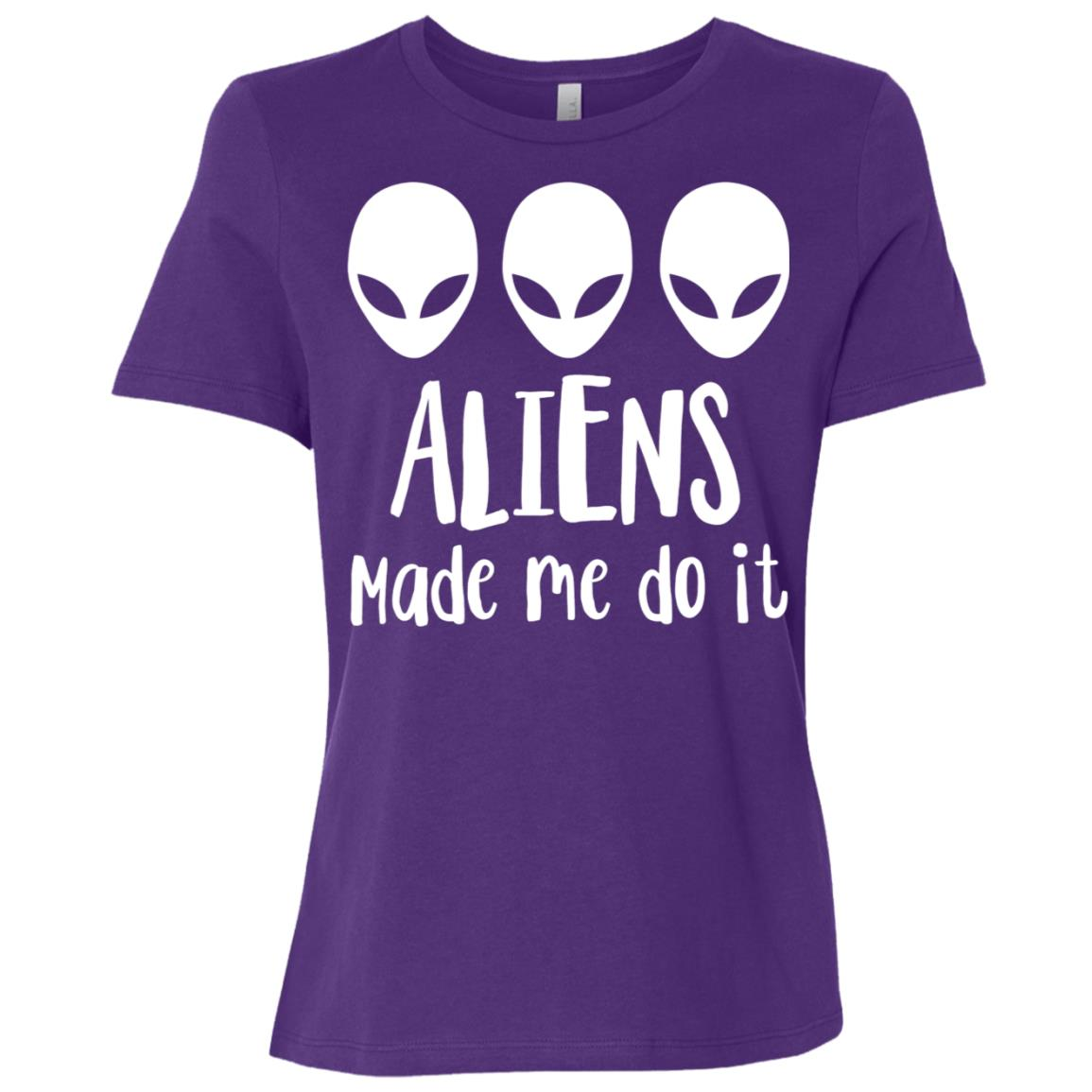Aliens made me do it Space Sarcastic Funny Tee Women Short Sleeve T-Shirt