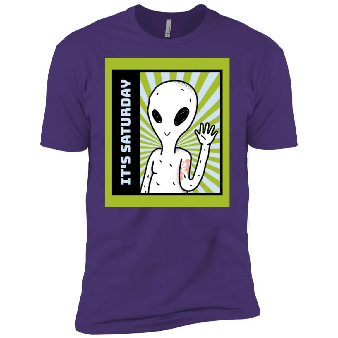 Funny It's Saturday Green Alien gift idea Men Short Sleeve T-Shirt