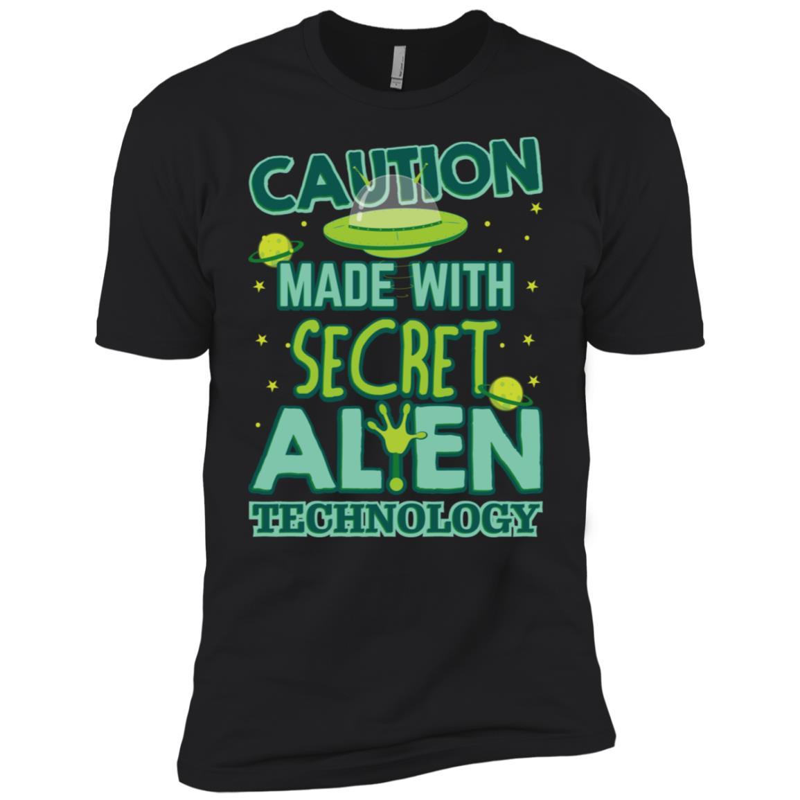 Caution Made With Secret Alien Technology Gift Ls Men Short Sleeve T-Shirt