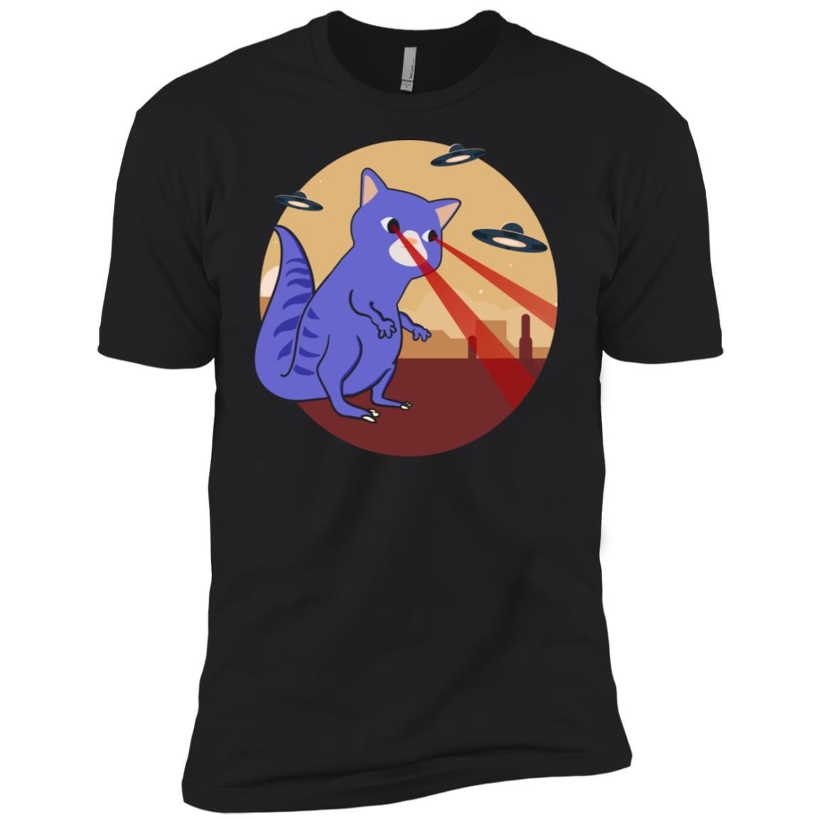 Cat Vs Ufo Funny Laser Beam Eyes Men Short Sleeve T-Shirt