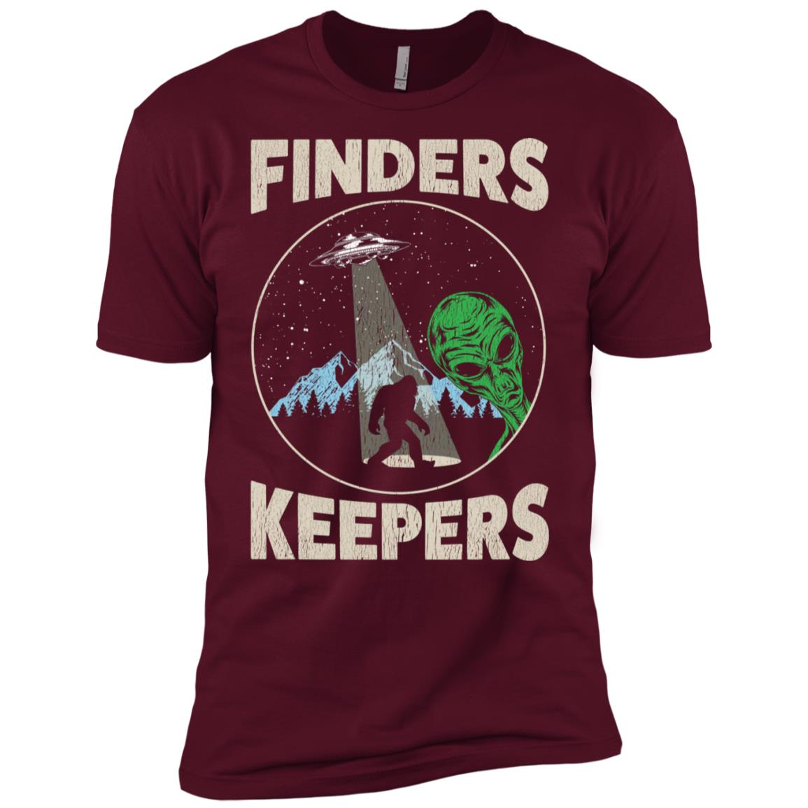 Bigfoot Ufo Abduction Believe Distressed Men Short Sleeve T-Shirt