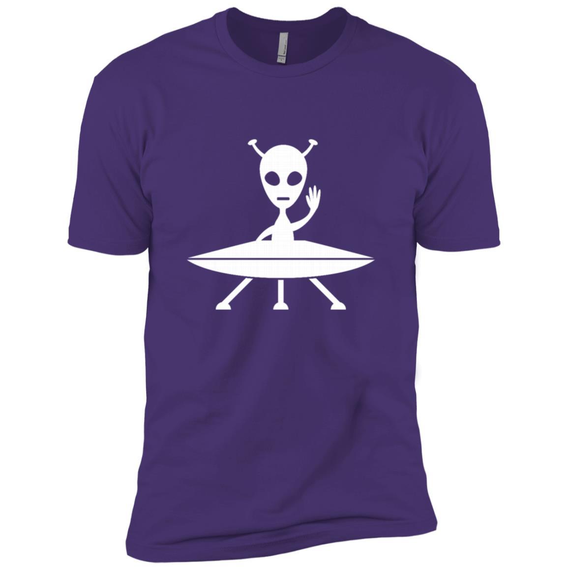 Funny Allien On A Spaceship Ufo Birthday Gift Men Short Sleeve T-Shirt